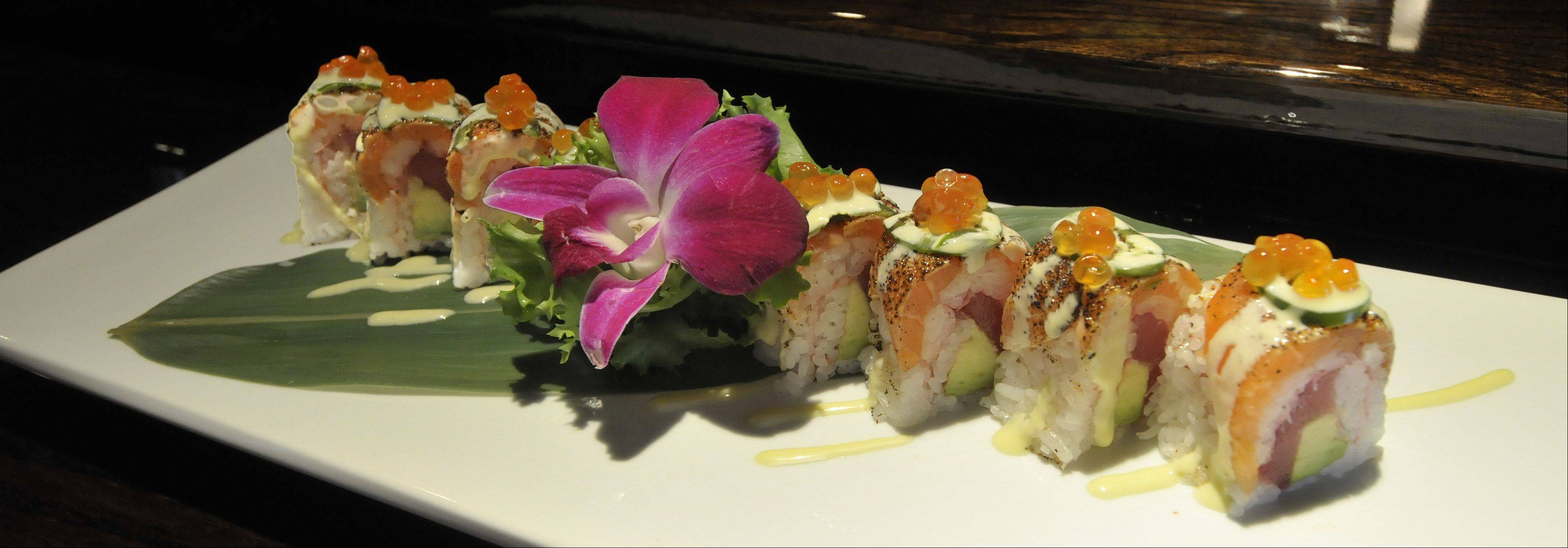 The Cubs roll is just one of the fancy sushi creations on the menu at Dao Sushi & Thai.