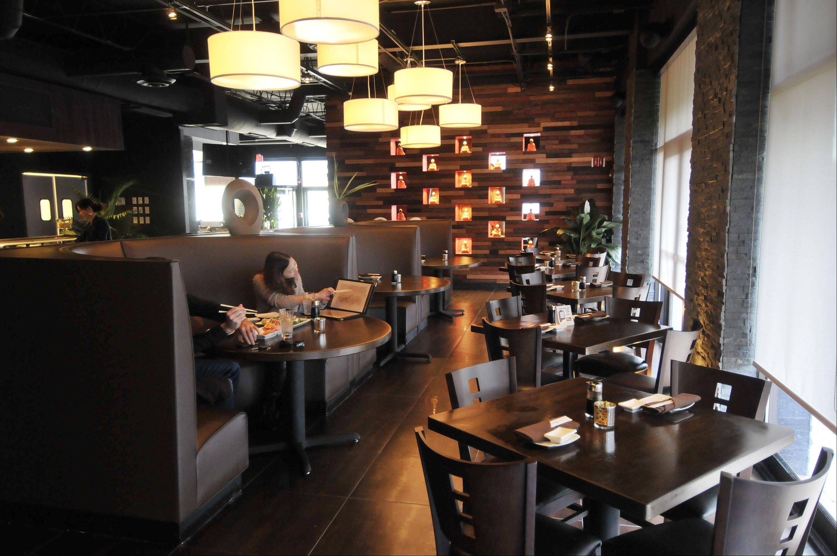The dining room at Dao Sushi & Thai has a modern, upscale vibe.
