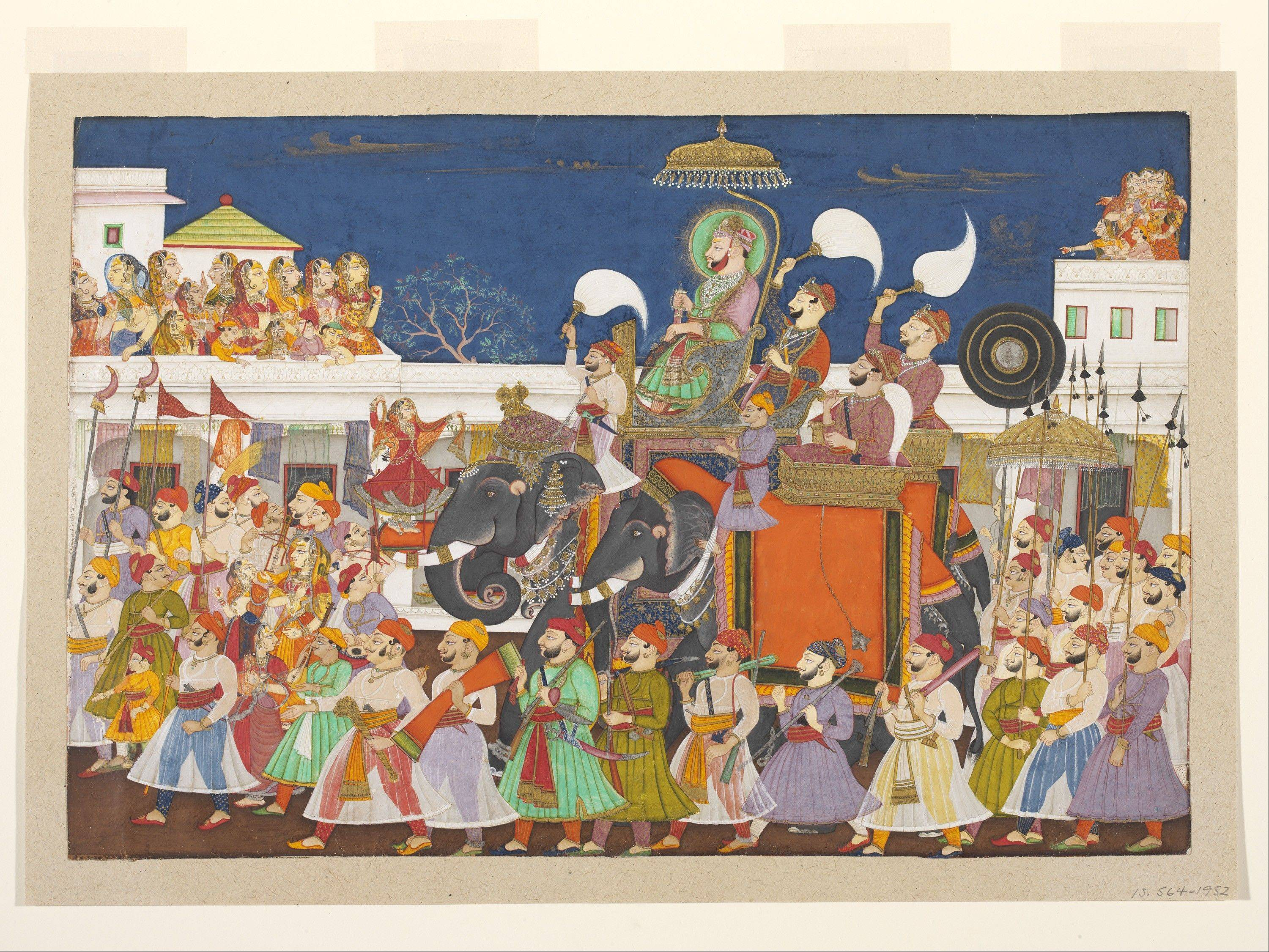"""Procession of Ram Singh II of Kota,"" a watercolor from 1850, is part of the new ""Maharaja"" exhibit at The Field Museum."