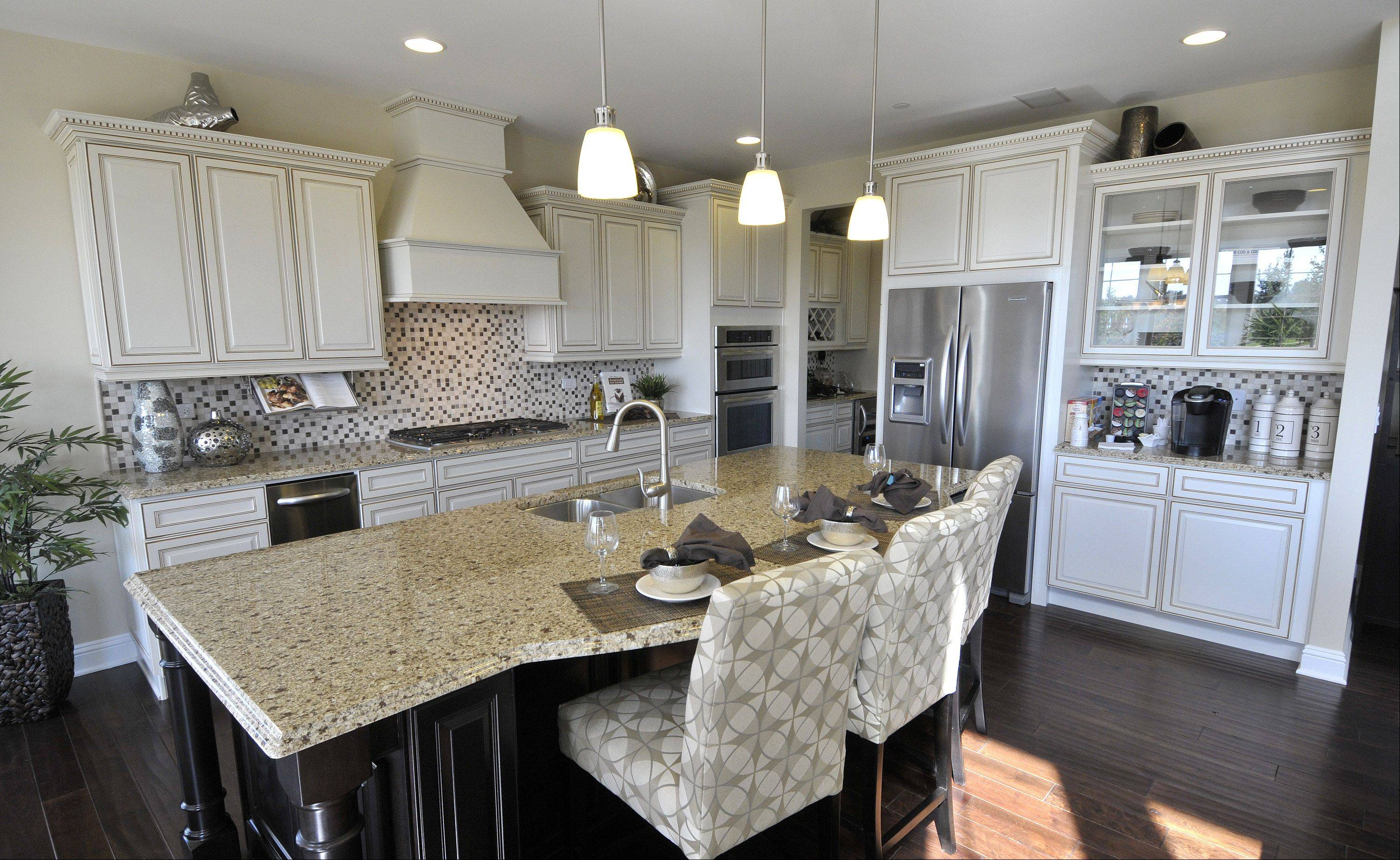 The kitchen in the Naples model at the Savoy Club development in Burr Ridge.