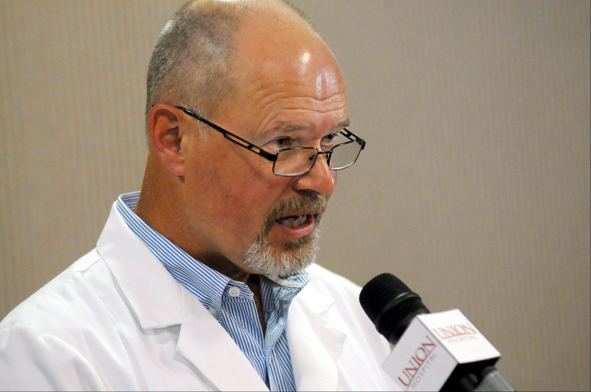 Union Hospital Chief Medical Officer Dr. John A. Bolinger talks with news media Friday in Terre Haute, Ind. Bolinger said 90 patients had been treated with a pain medication that's been linked to a deadly nationwide outbreak of fungal meningitis. All but five had been contacted by Friday afternoon, and the hospital was following up with letters. He said the injections were administered at the Wabash Valley Surgery Center between July 15 and Sept. 26.