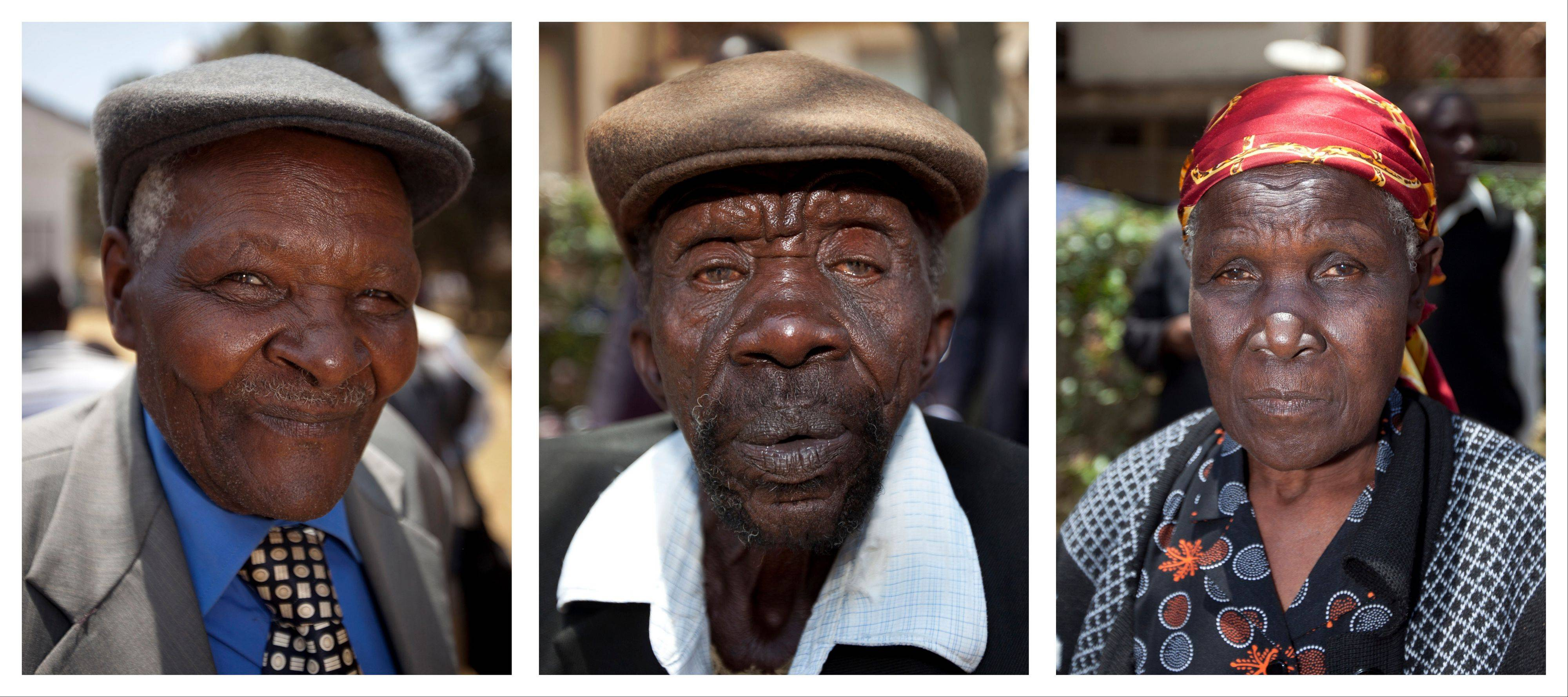 This combination photograph shows, left to right, Kenyans Wambuga Wa Nyingi, Paulo Muoka Nzili, and Jane Muthoni Mara. Britain's High Court ruled Friday that the three Kenyans tortured during the Mau Mau rebellion against British colonial rule can proceed with compensation claims against the British government.