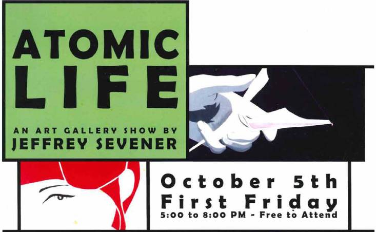 Brochure for Atomic Life First Friday gallery event
