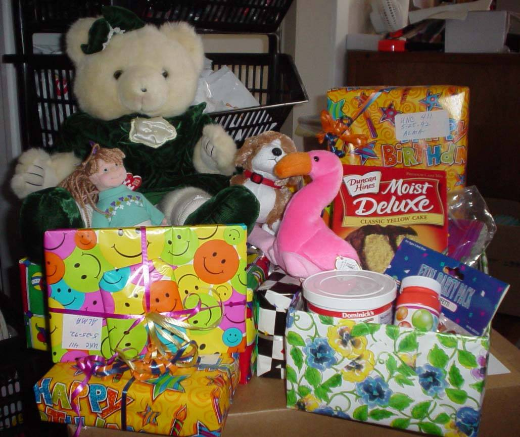 Gifts collected for a needy child in HSP's Children's Birthday Project.