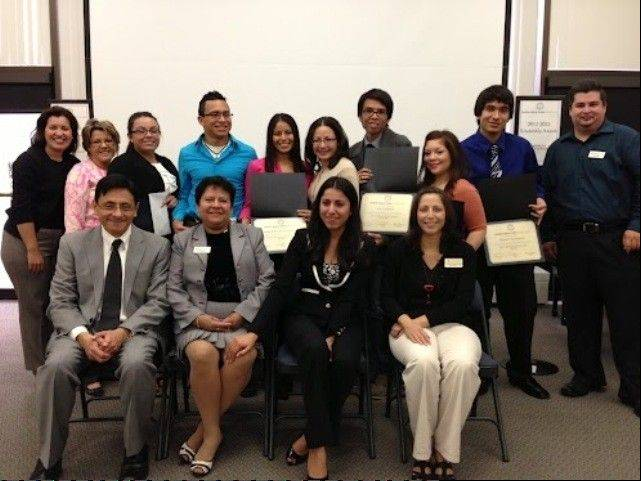 Pictured at the awards ceremony, from left, are: Ennedy Rivera, public relations director CLULC; Melba Rivera, membership director CLULC; students Ana Osornio, Melvin Flores, and Nancy Gutierrez; Susan Olavarria, Midwest Generation; students Jose Catalan, Carla Gutierrez and Daniel Manjarres; Jesus Ruiz, executive director CLULC; Dr. Hector Rasgado-Flores, associate professor for physiology and biophysics RFUMS; Mey Spencer, education director CLULC; Elizabeth Rosiles, president CLULC and Myra Gaytan Morales, assistant dean for academic services and programs UC.