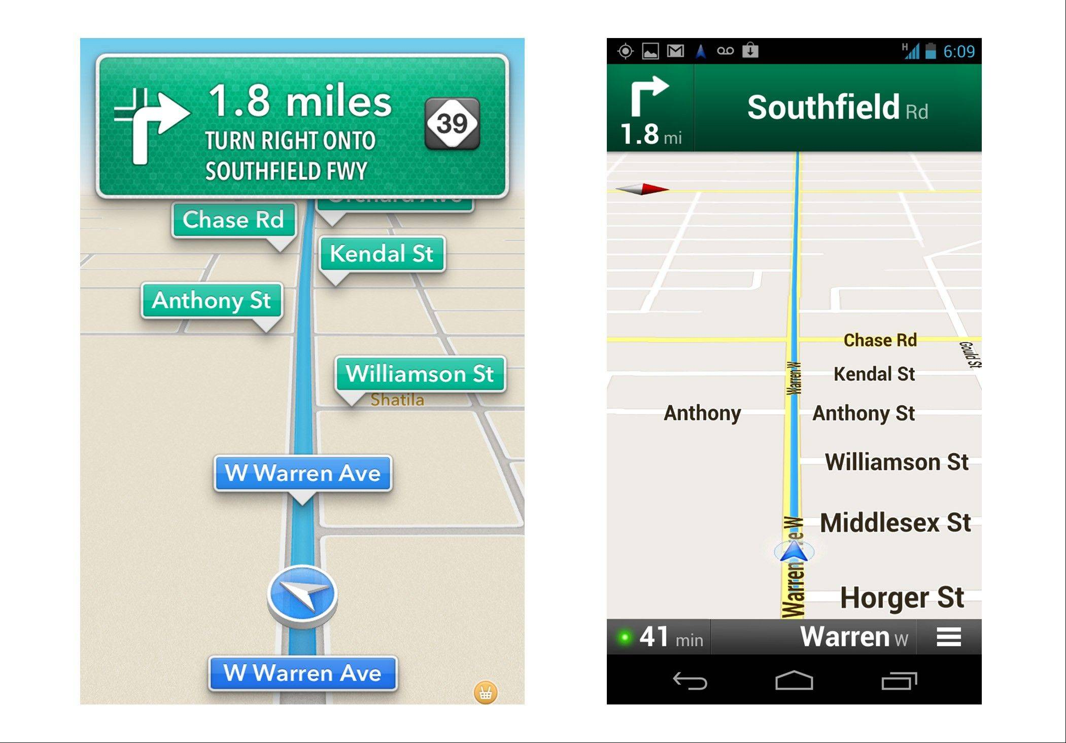 These screenshots show Apple�s maps app on an iPhone, left, and Google�s on an Android device during a drive in Dearborn, Mich. Both have voices guiding motorists to upcoming turns, in this case onto Southfield Road in about two miles. An AP review finds the Google app, on the right, having more features, though Apple�s app does a good job for the most part getting people to their destination.