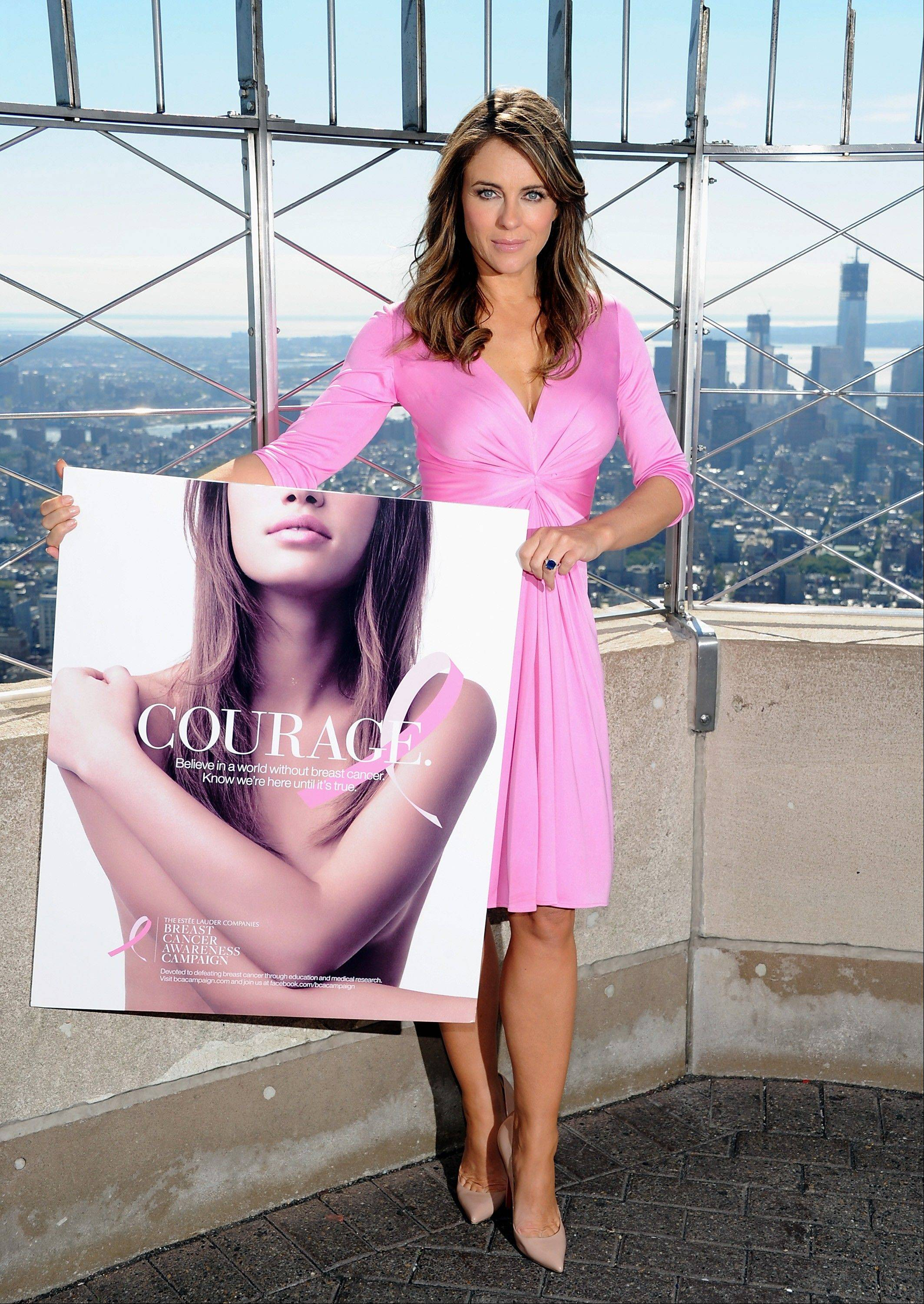 Spokesperson and model Elizabeth Hurley poses on the observation deck after lighting the Empire State Building pink in honor of the 20th Anniversary of the Estee Lauder Companies� Breast Cancer Awareness Campaign on Monday, Oct. 1, 2012 in New York.