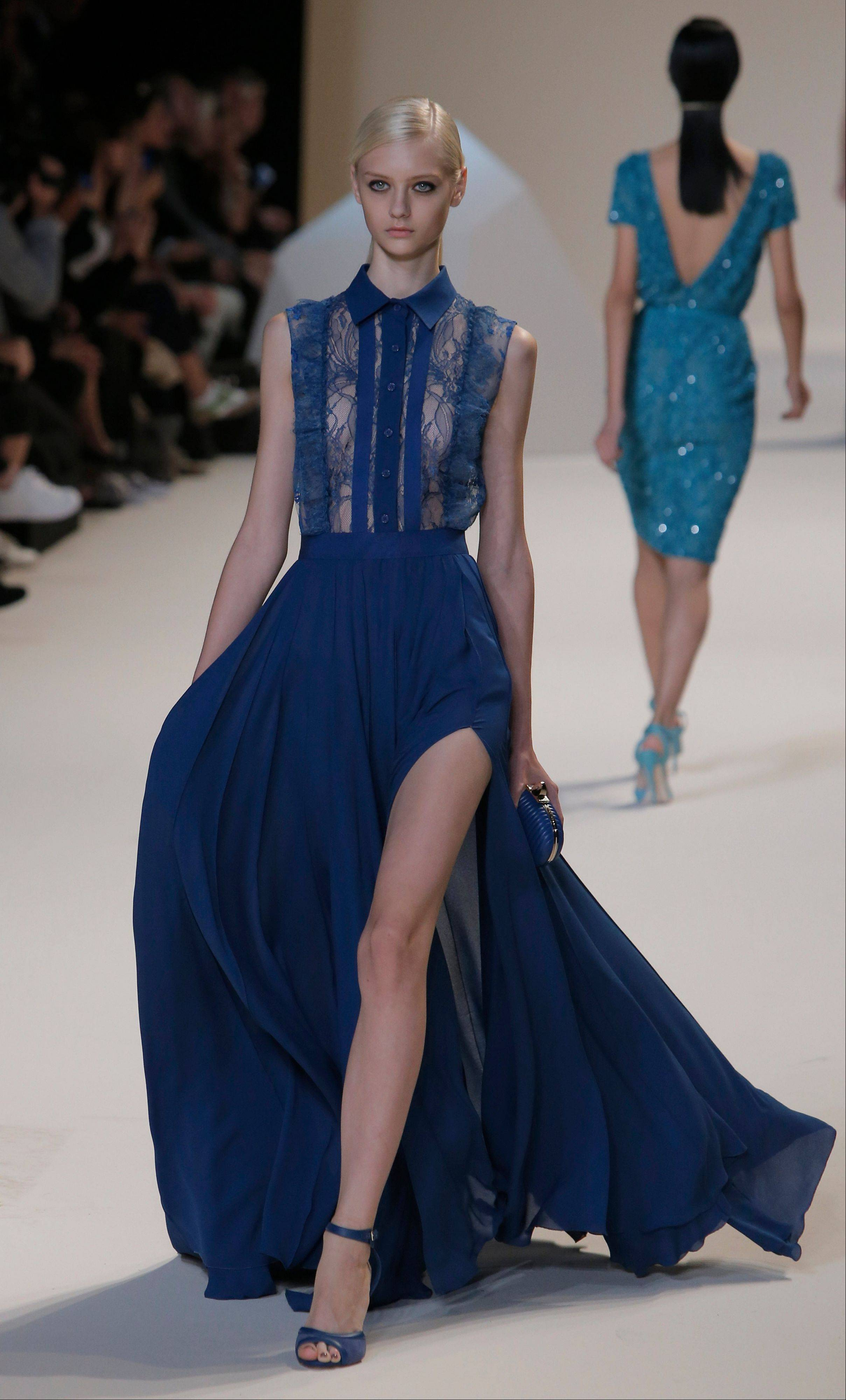 A model wears a creation by designer Elie Saab as part of his ready to wear Spring-Summer 2013 collection, in Paris.