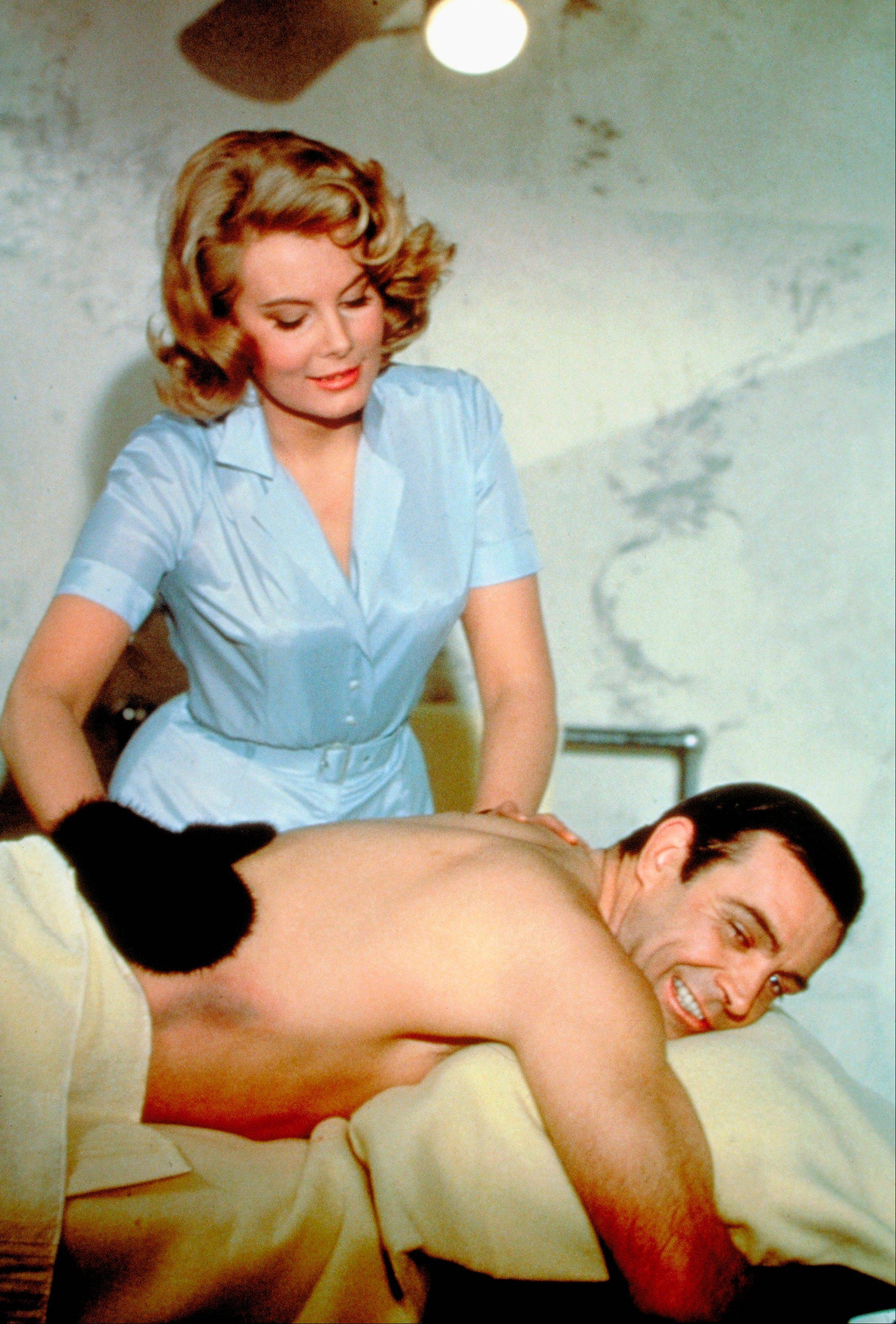 "Molly Peters and Sean Connery in a scene from the James Bond 1965 film, ""Thunderball."" Initially, Bond girls were part of the aesthetic of the series. They had more transient roles. The film is included in the MGM and 20th Century Fox Home Entertainment Blu-Ray ""Bond 50"" anniversary set."