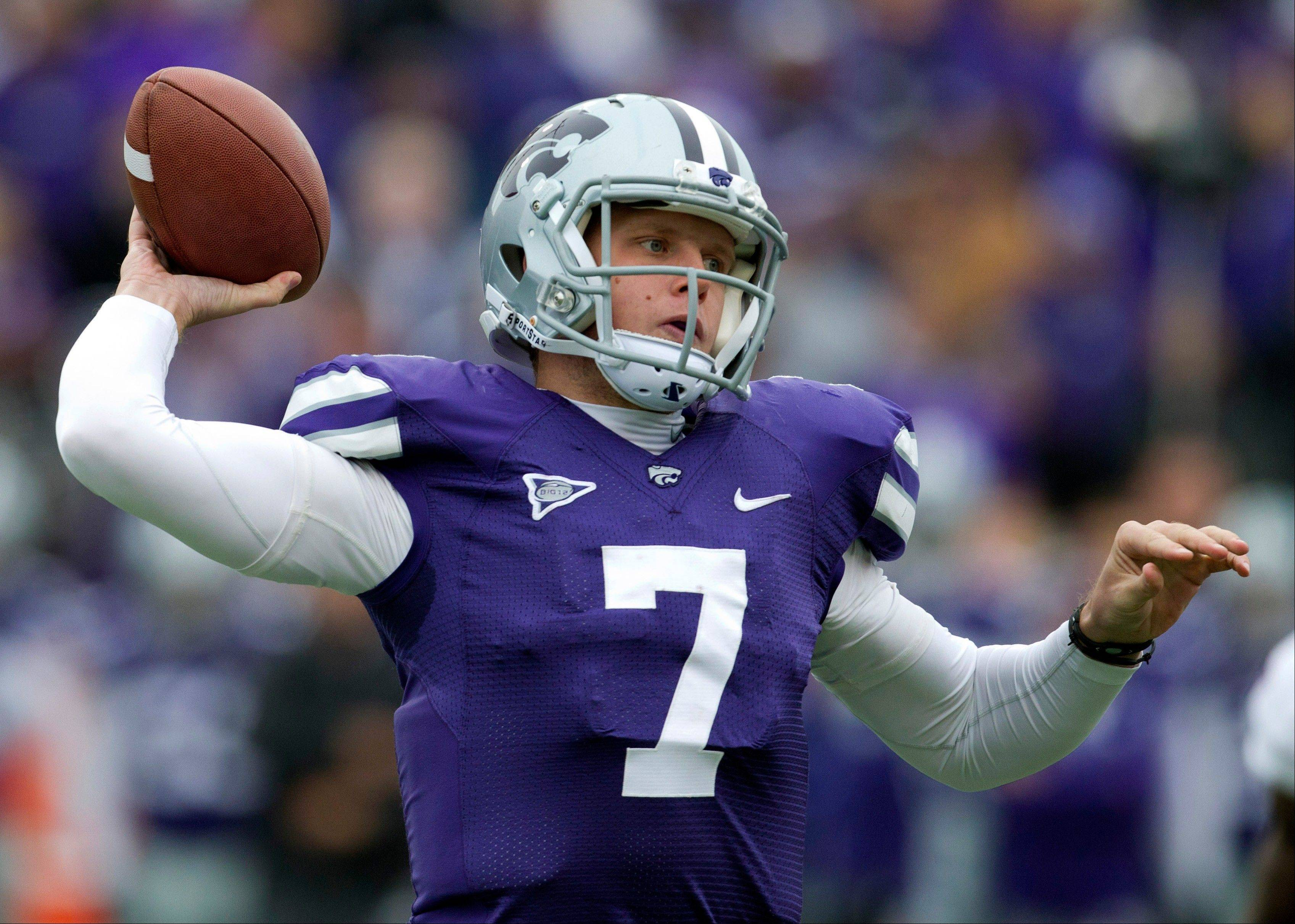 Kansas State quarterback Collin Klein throws a pas during the first half Saturday against Kansas in Manhattan, Kan.