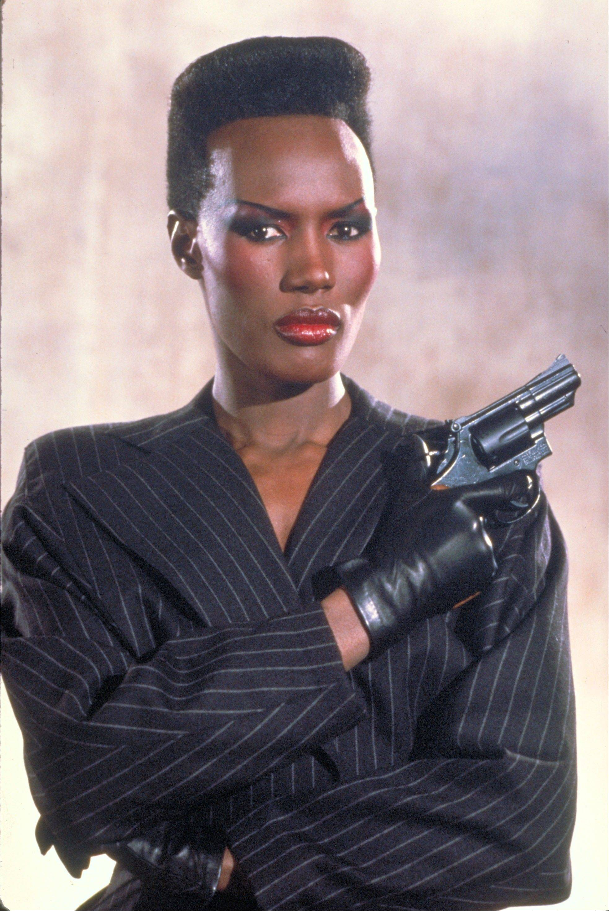 "Grace Jones as May Day from the James Bond 1985 film, ""A View to a Kill."" Modern Bond girls also present a more formidable challenge to the suave secret agent."