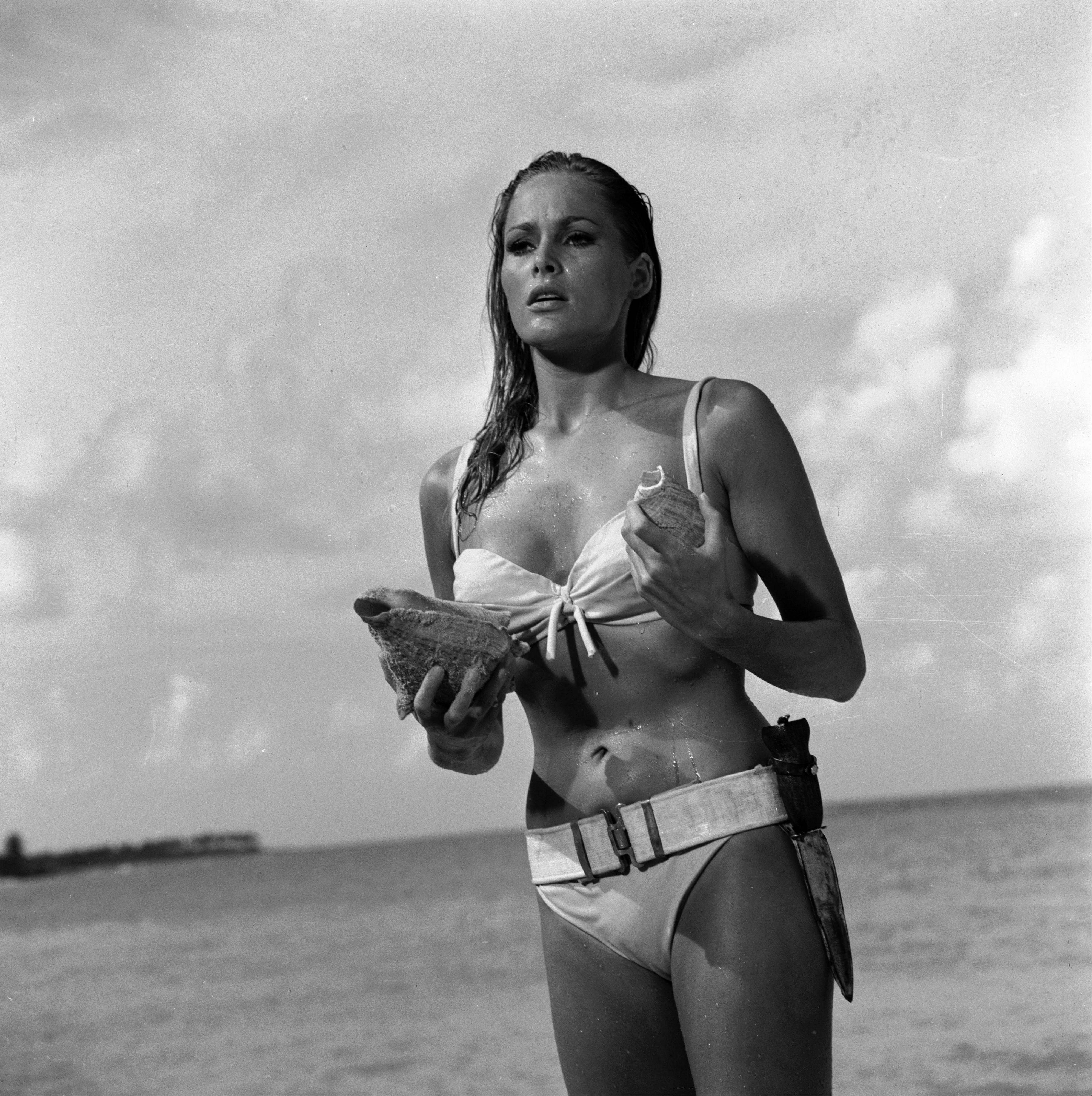 "Ursula Andress in a scene from the James Bond 1962 film, ""Dr. No."""