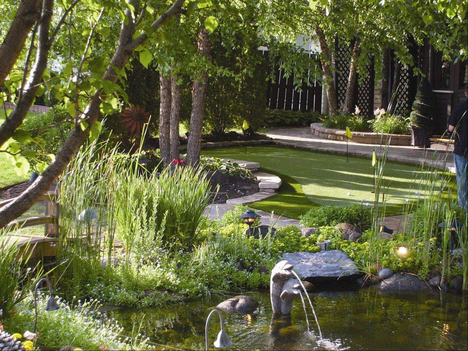 RYCO Landscaping created this small putting green for a client. The company's designers interview clients to propose improvements that fit a homeowner's lifestyle.