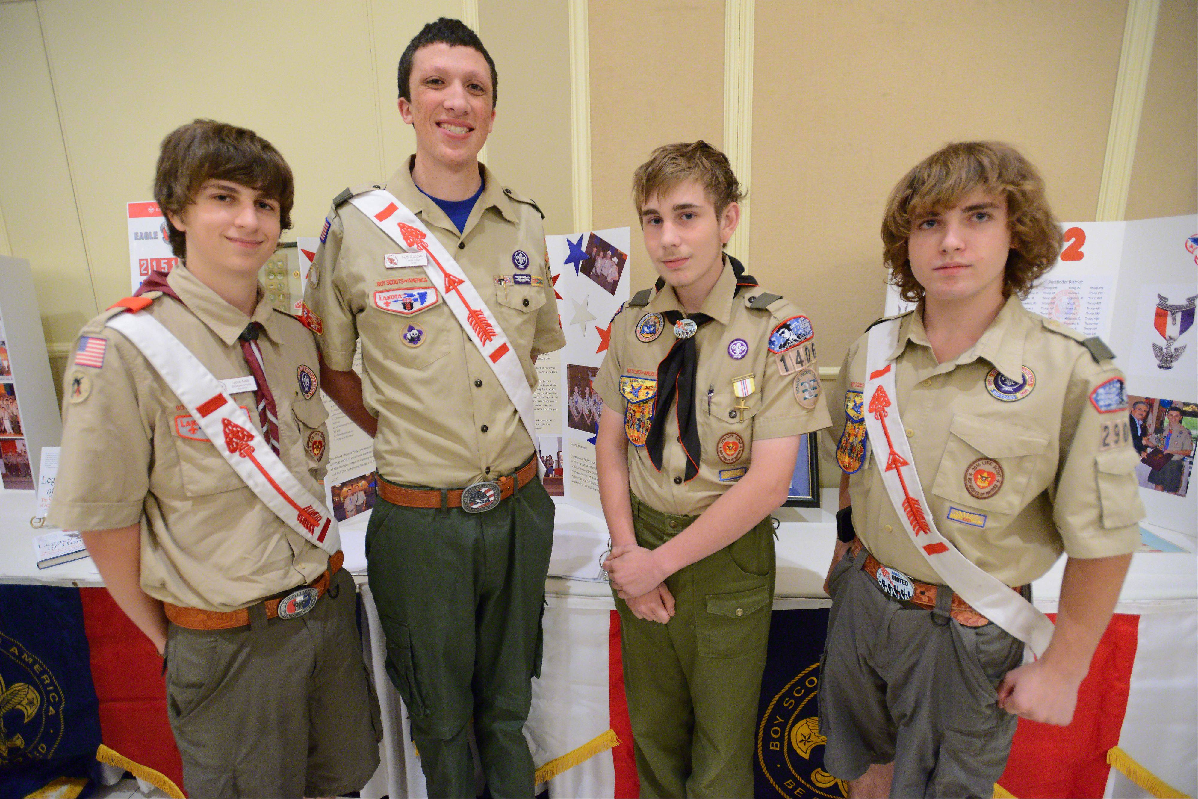 Eagle Scout Jacob Molli, 18, from Schiller Park Troop 16, Eagle Scout Nick Goodwin, 18, of Morton Grove Troop 228, Life Scout Richard Biggio, 15, of Park Ridge Troop 76, and Life Scout Drew Debish, 17, of Hoffman Estates Troop 290 attend Friday's banquet in Palatine.
