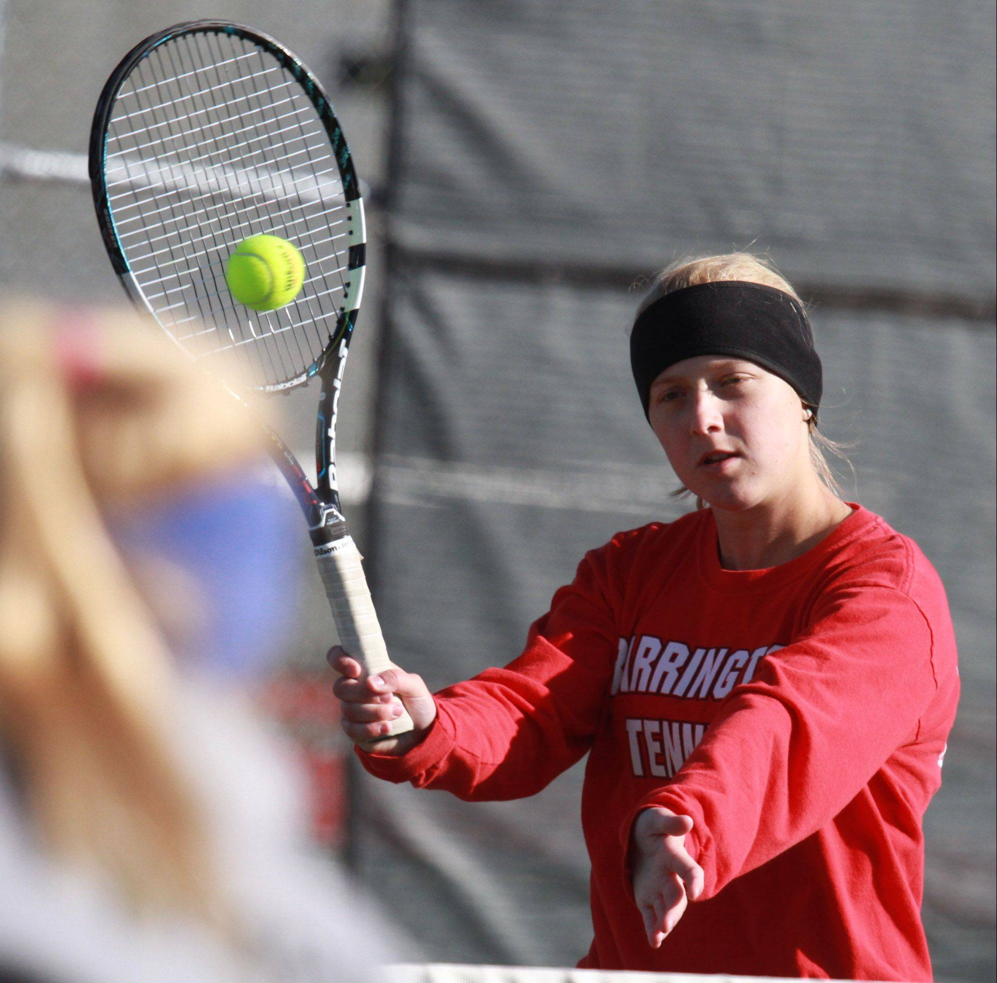 Barrington's Zoe Kasiurak returns a shot during MSL No. 1 doubles play Saturday at Prospect. Kasiurak teamed with Lucia Stumbras against Rolling Meadows' Jackie and Allie Kemph on Saturday morning in the semifinals.
