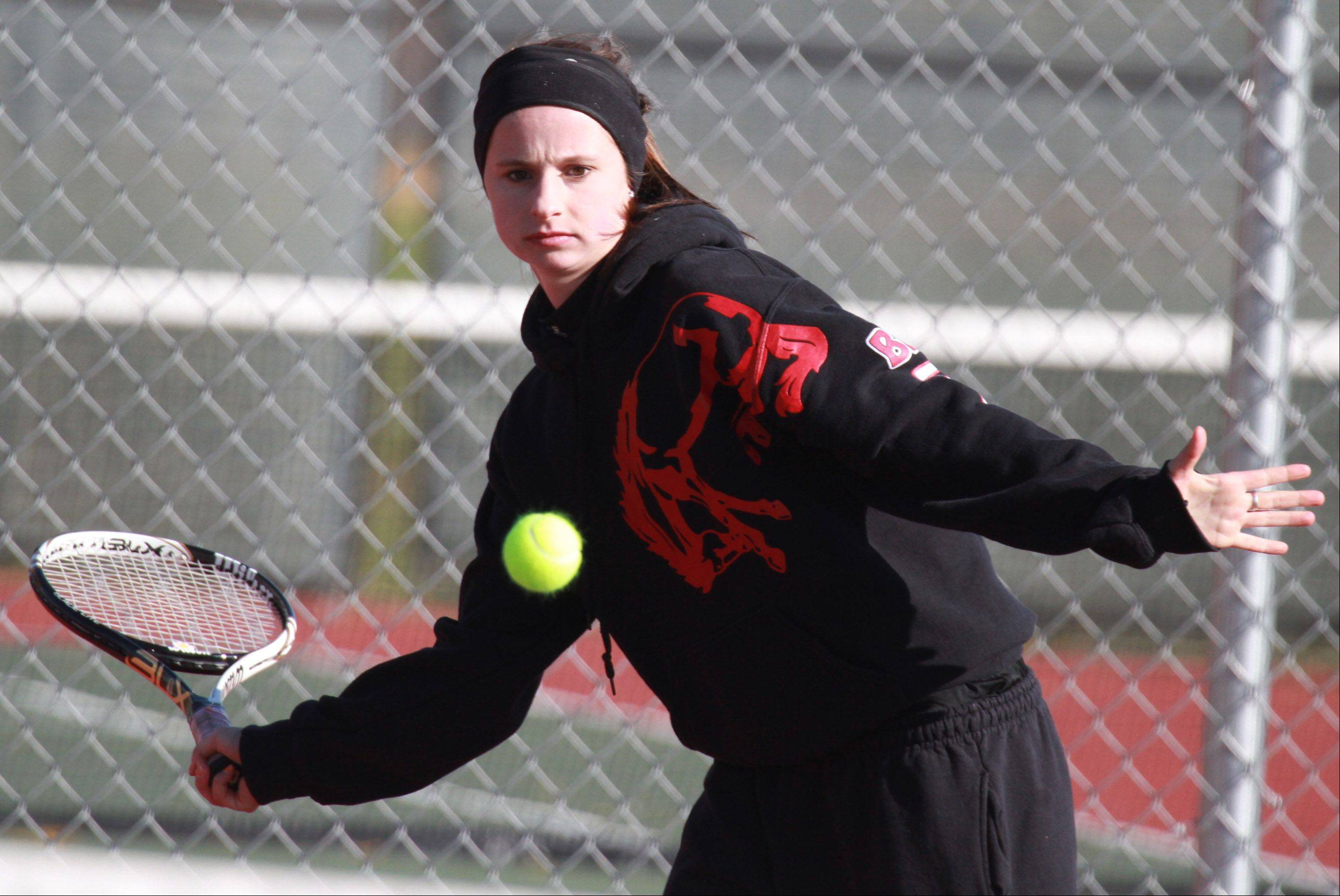 Barrington's Lucia Stumbras returns a shot during MSL doubles play Saturday at Prospect. Stumbras teamed with Zoe Kasiurak against Rolling Meadows' Jackie and Allie Kemph on Saturday morning.