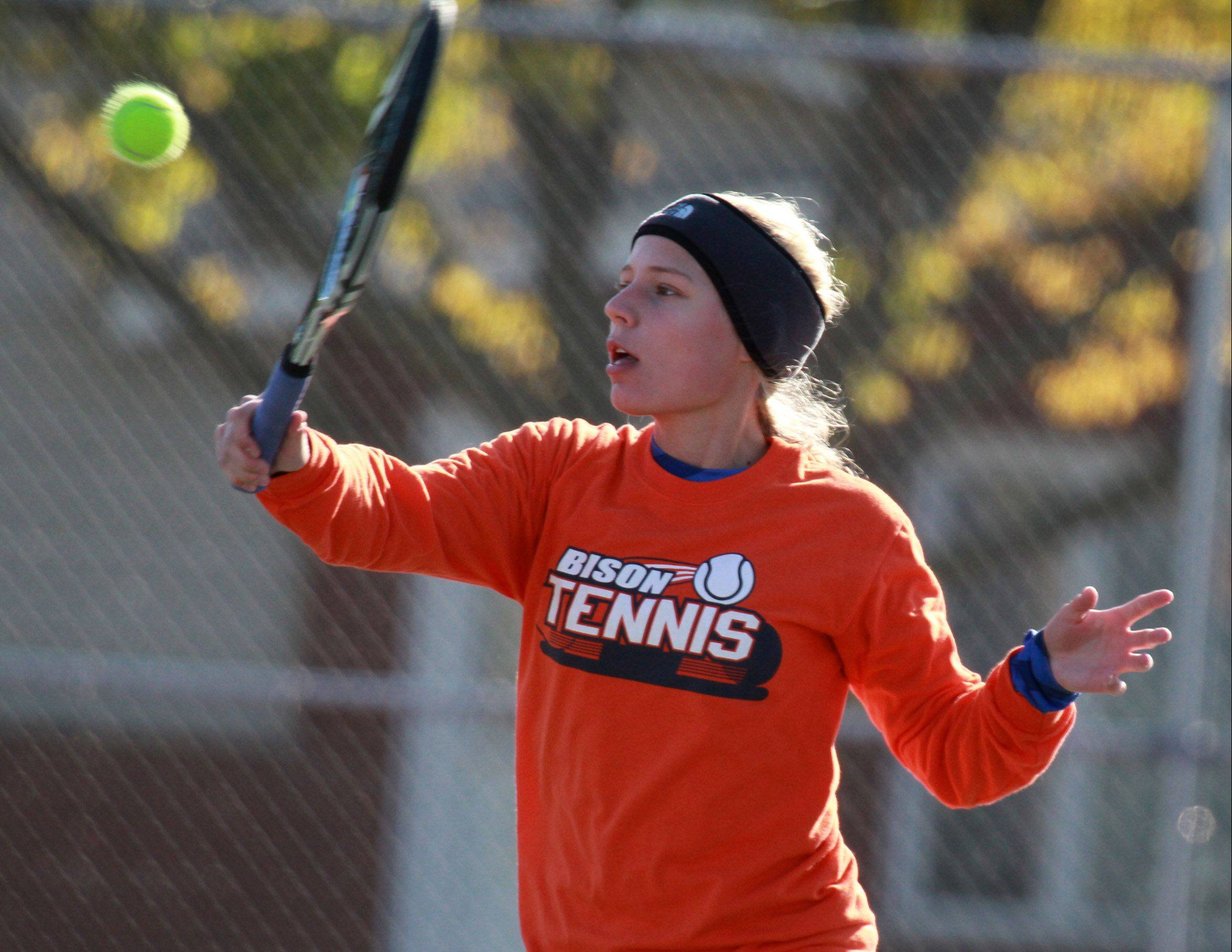 Buffalo Grove No. 1 singles player Elise Mousseau competes against Fremd's Amy Byrne during Mid-Suburban League championship play at Prospect on Saturday.