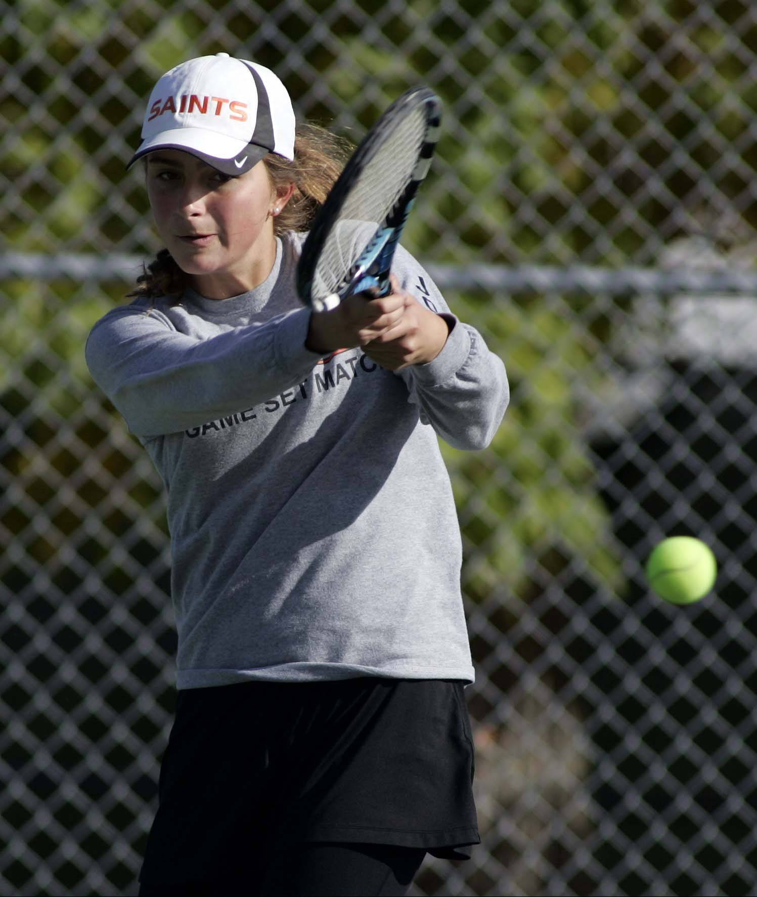 St. Charles East's Haydyn Jones and her partner Kelsie Roberton finished second at No. 1 doubles Saturday at the Upstate Eight Conference River Division tournament.