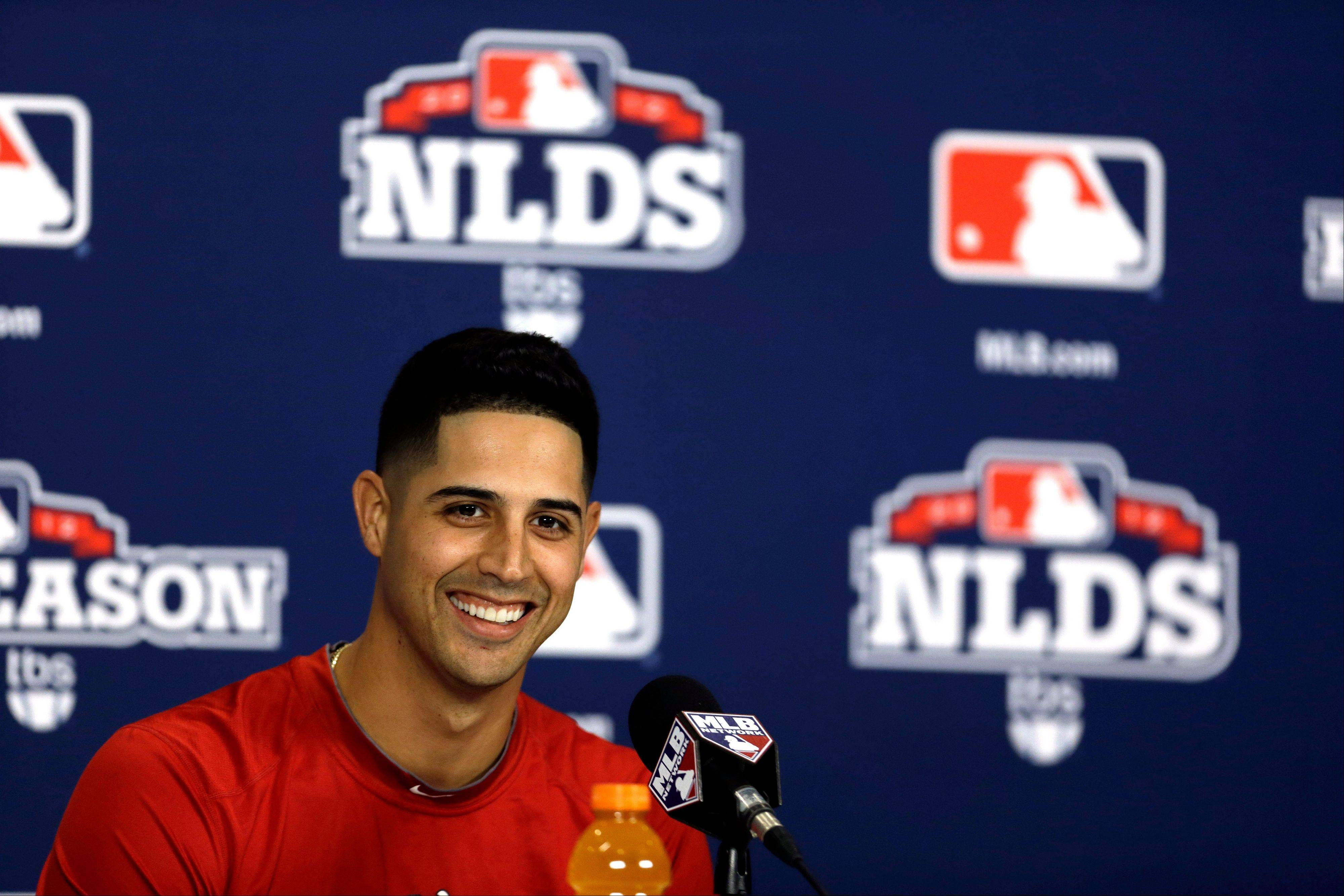 Washington Nationals starting pitcher Gio Gonzalez speaks Saturday during a news conference in St. Louis. Gonzalez is scheduled to start for the Nationals in Game 1 of the National League division series against the St. Louis Cardinals on Sunday.