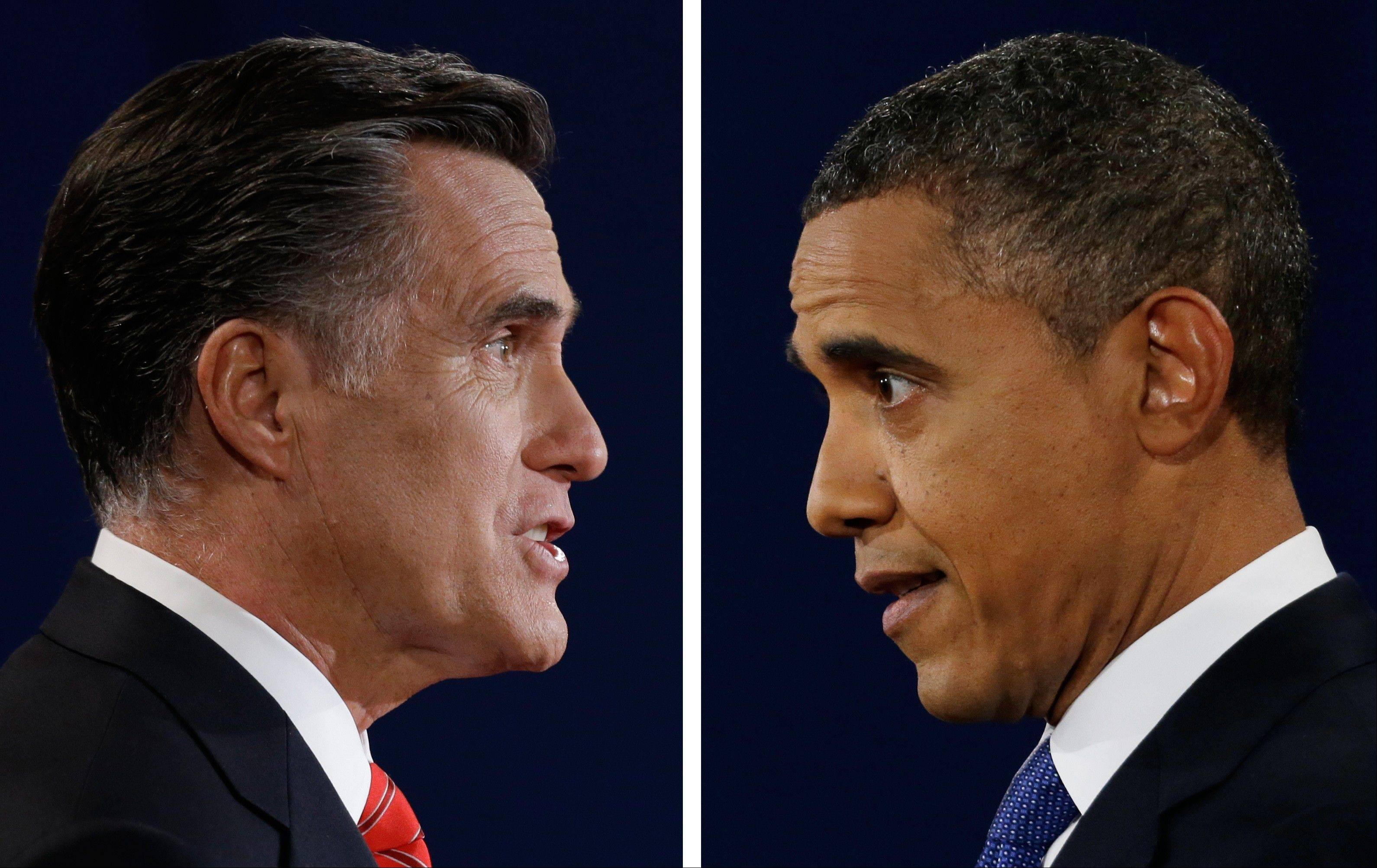 Republican presidential nominee Mitt Romney and President Barack Obama speak during their first presidential debate at the University of Denver, Colo. In a September Pew Research Center poll 48 percent of registered voters said Obama was more �honest and truthful,� to 34 percent who felt Romney was. And a CBS News/New York Times survey earlier in September asked separately whether each candidate was honest and trustworthy: 58 percent of likely voters described Obama that way while 53 percent said that of Romney.