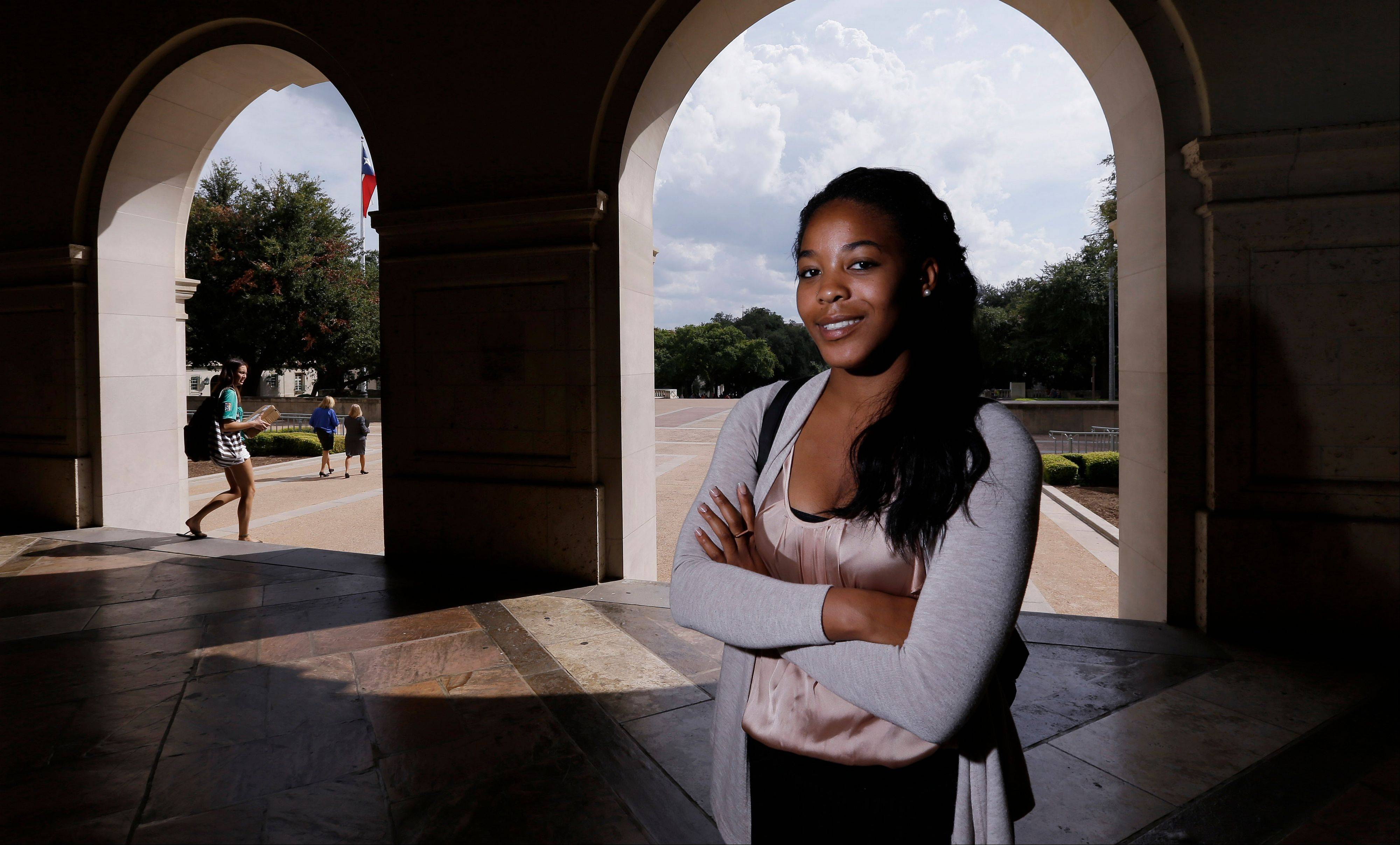 University of Texas at Austin senior Kristin Thompson on the campus in Austin, Texas. Although the University of Texas is one of the most diverse in the country, Thompson says she�s one of just two black female civil engineers in her class, despite aggressive recruiting. She�s found her community outside class, but her academic experience has been lonely. �At UT we talk about what starts here changes the world, but I think we�re doing a disservice to students by not preparing them for a world that doesn�t have these demographics,� she said.