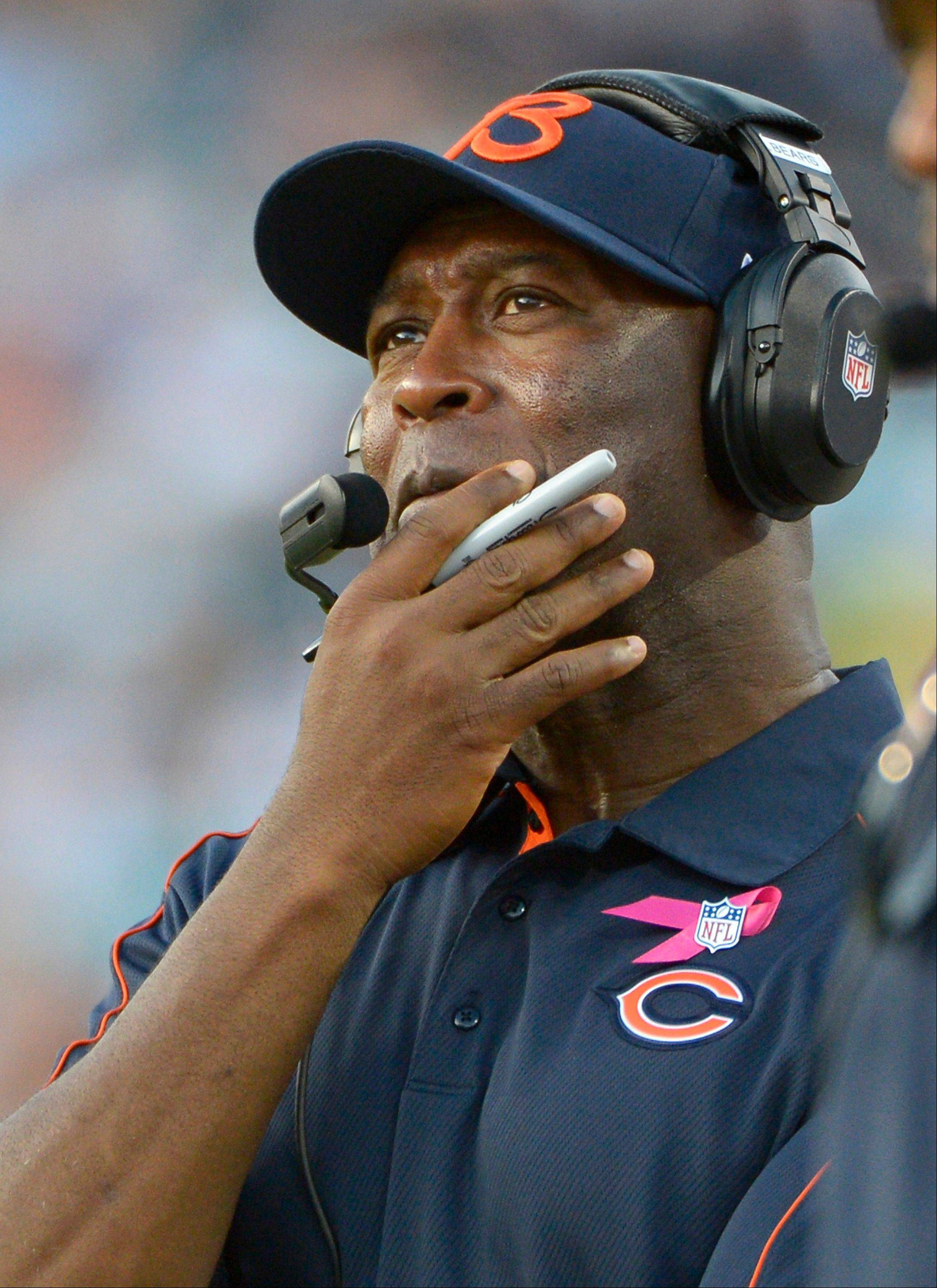 Bears head coach Lovie Smith watches play during the second half of an NFL football game against the Jacksonville Jaguars, Sunday, Oct. 7, 2012, in Jacksonville, Fla. Chicago won 41-3.