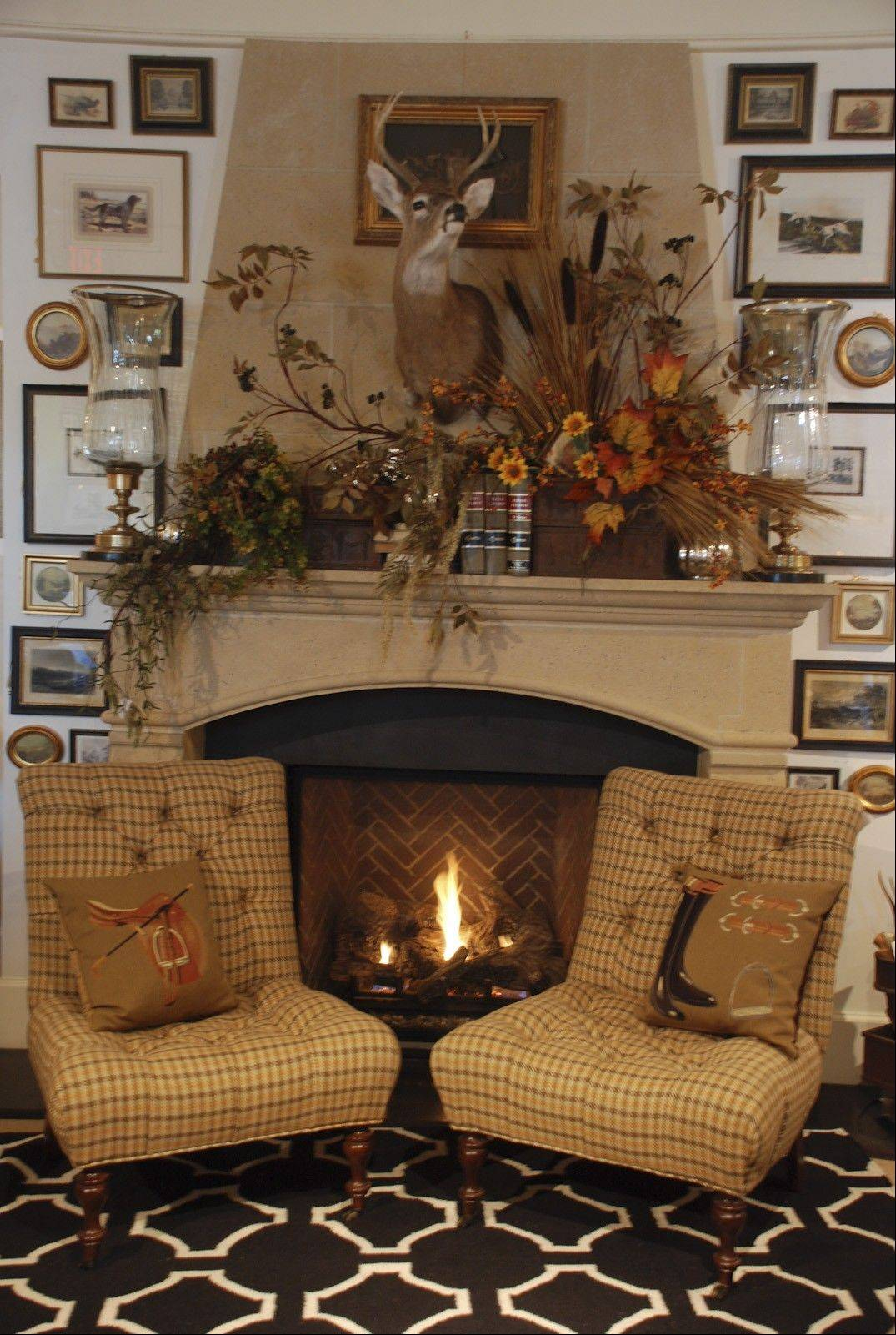 A variety of fall picks and sprays was chosen for this mantel.