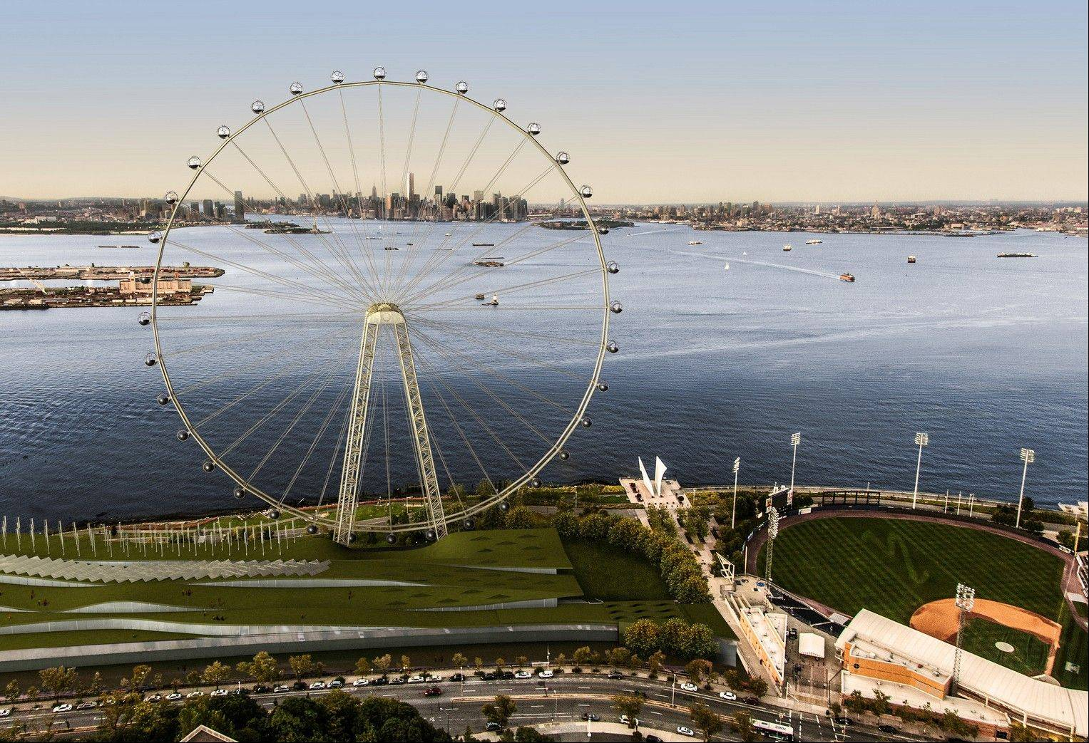 An artist's rendering of a proposed 625-foot Ferris wheel, billed as the world's largest, planned as part of a retail and hotel complex along the Staten Island waterfront in New York. The attraction, called the New York Wheel, will cost $230 million.