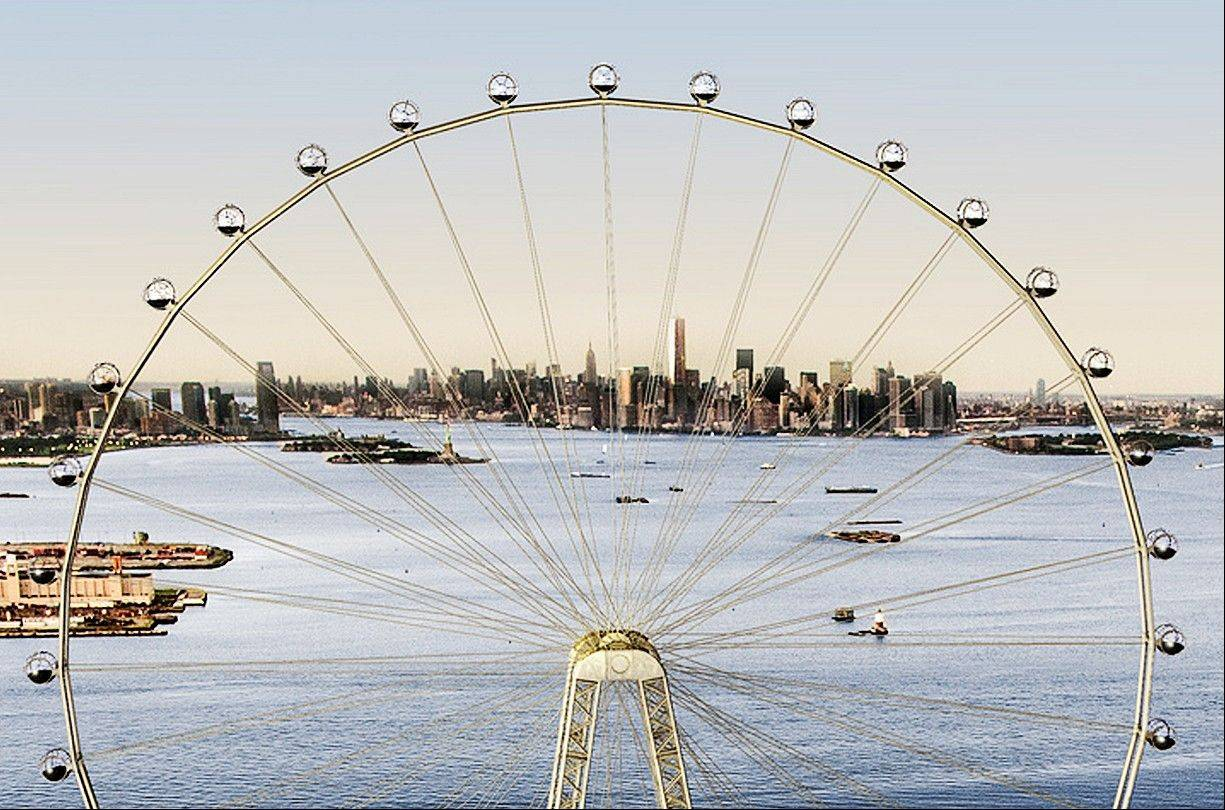 An artist's rendering of a proposed 625-foot Ferris wheel, billed as the world's largest, planned as part of a retail and hotel complex along the Staten Island waterfront in New York.