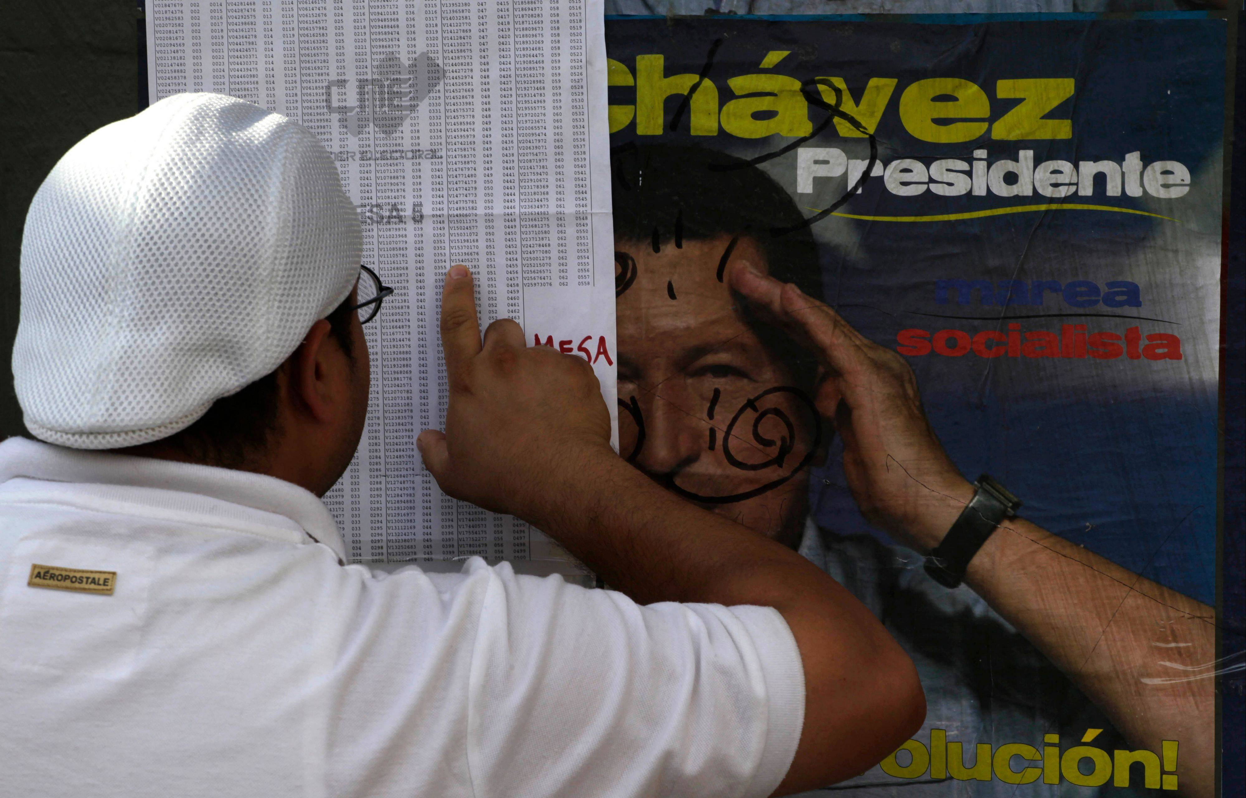 A voter looks for his name on a list, which covers an election campaign sign of President Hugo Chavez, at a polling station during the presidential election in the Petare neighborhood of Caracas, Venezuela, Sunday. President Hugo Chavez is running for re-election against opposition candidate Henrique Capriles.