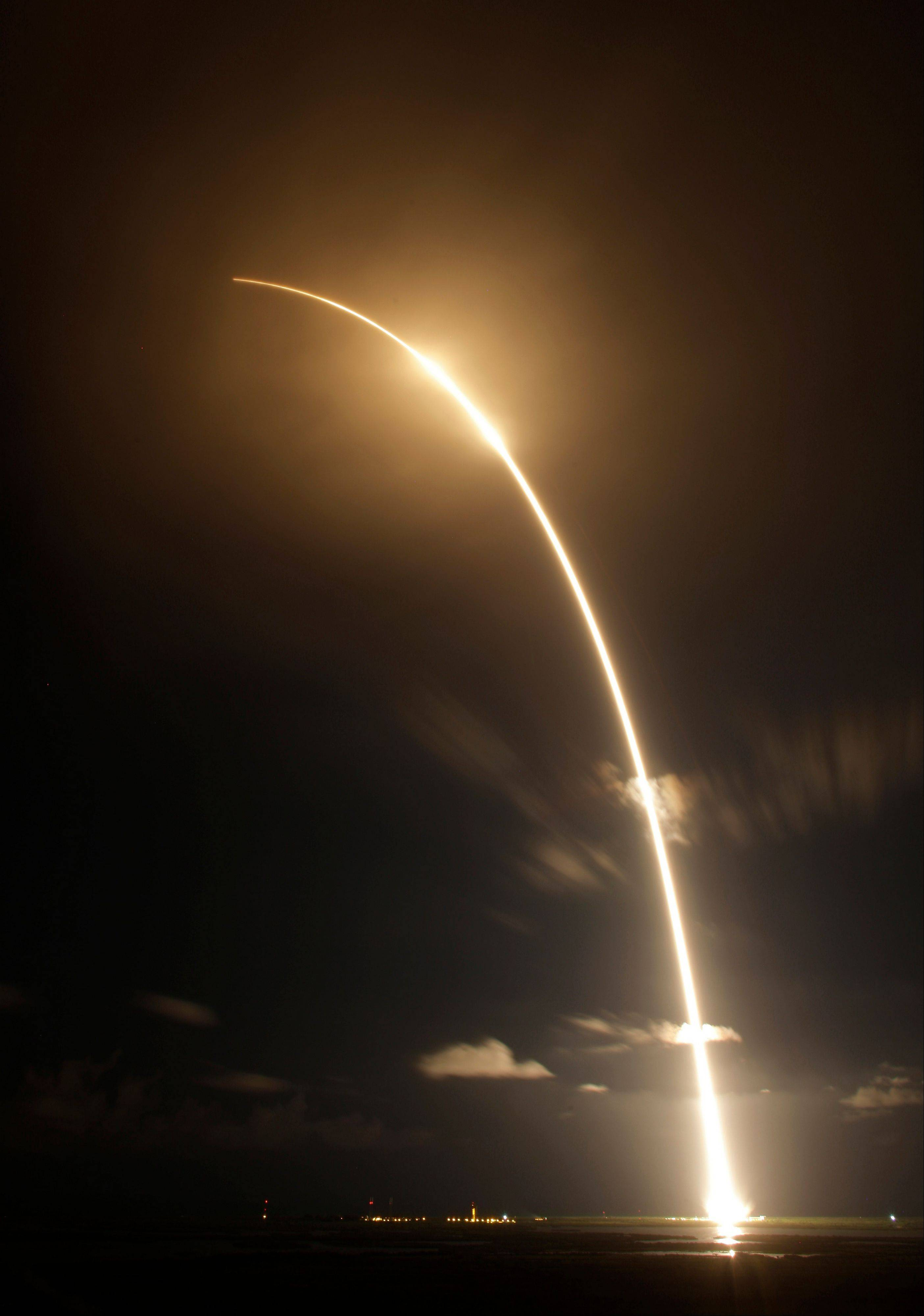 The Falcon 9 SpaceX rocket is shown in a time exposure as it lifts off from space launch complex 40 at the Cape Canaveral Air Force Station in Cape Canaveral, Fla. on Sunday, Oct. 7, 2012. The rocket is carrying supplies to the International Space Station.
