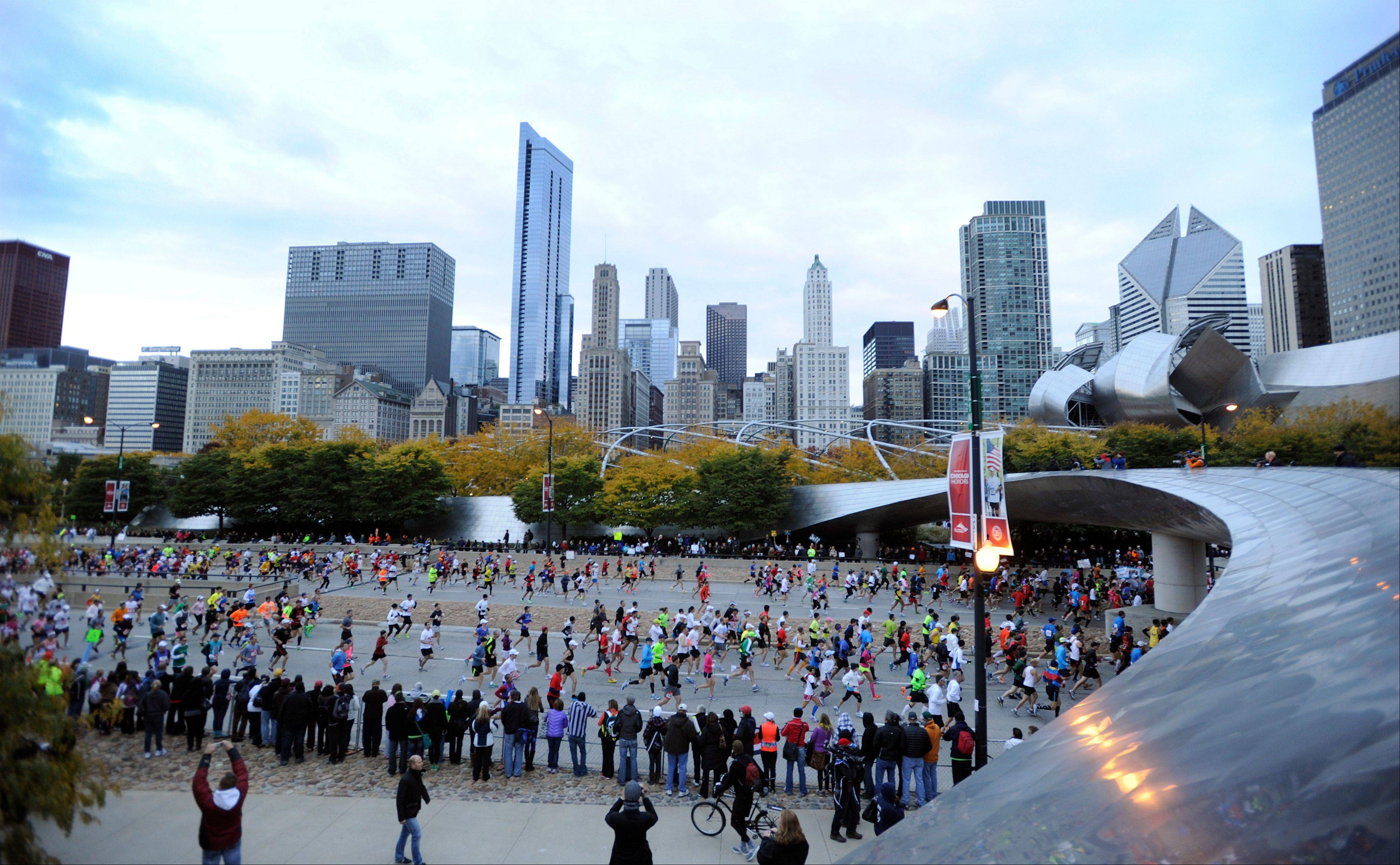 Runners start the 2012 Chicago Marathon Sunday, Oct. 7, 2012.
