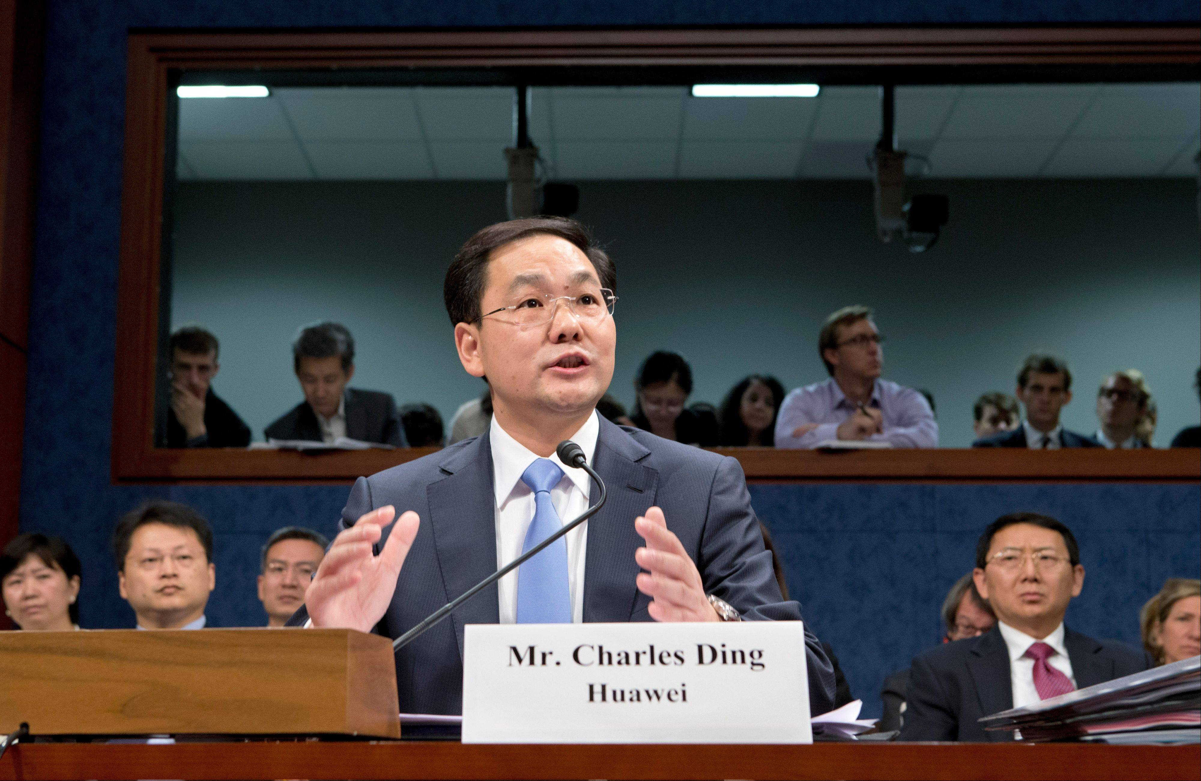 Charles Ding, Huawei Technologies Ltd�s senior vice president for the U.S., testifies on Capitol Hill in Washington, before the House Intelligence Committee as lawmakers probe whether Chinese tech giants� expansion in the U.S. market pose a threat to national security.