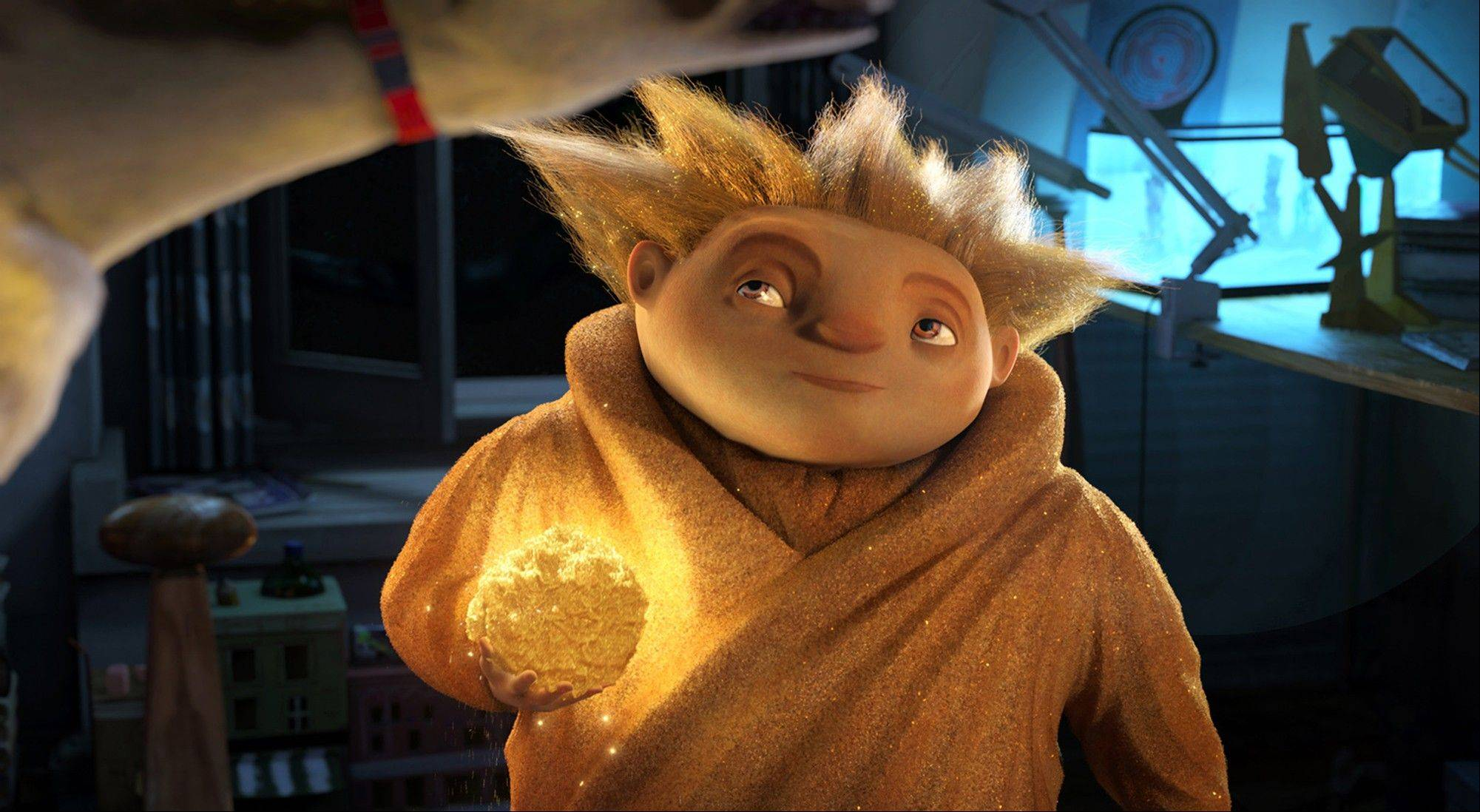 "Sandman eyes his target in DreamWorks Animation's ""Rise of the Guardians."" The film, releasing by Paramount Pictures, centers on a carefree Jack Frost (voiced by Chris Pine) joining an Avengers-style team of mythical figures who work together to protect the world's children with their assortment of powers and gadgets."