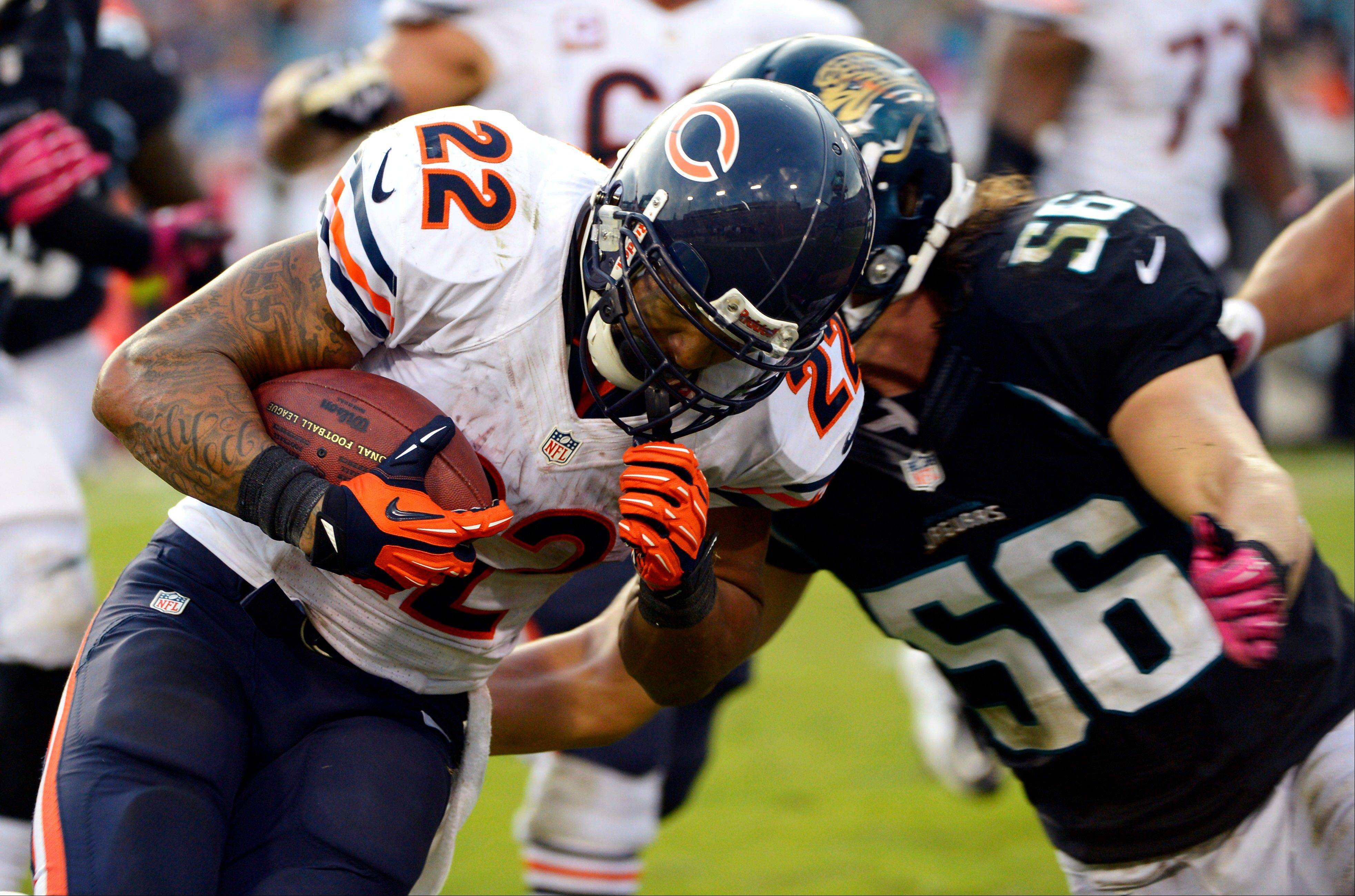 Running back Matt Forte rushed for 107 yards on 22 carries in Sunday�s victory over the Jaguars. The Bears finished with 214 yards on the ground.