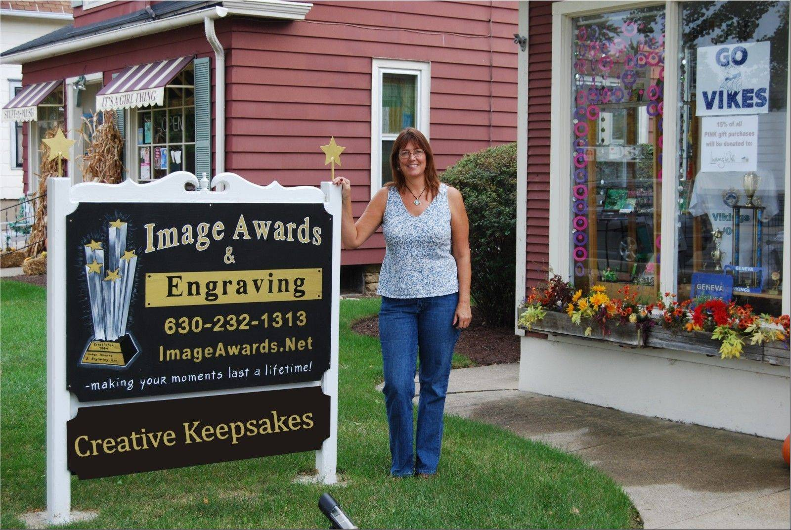 Patty Donahue, owner of Image Awards, Engraving & Creative Keepsakes Inc. in Geneva.