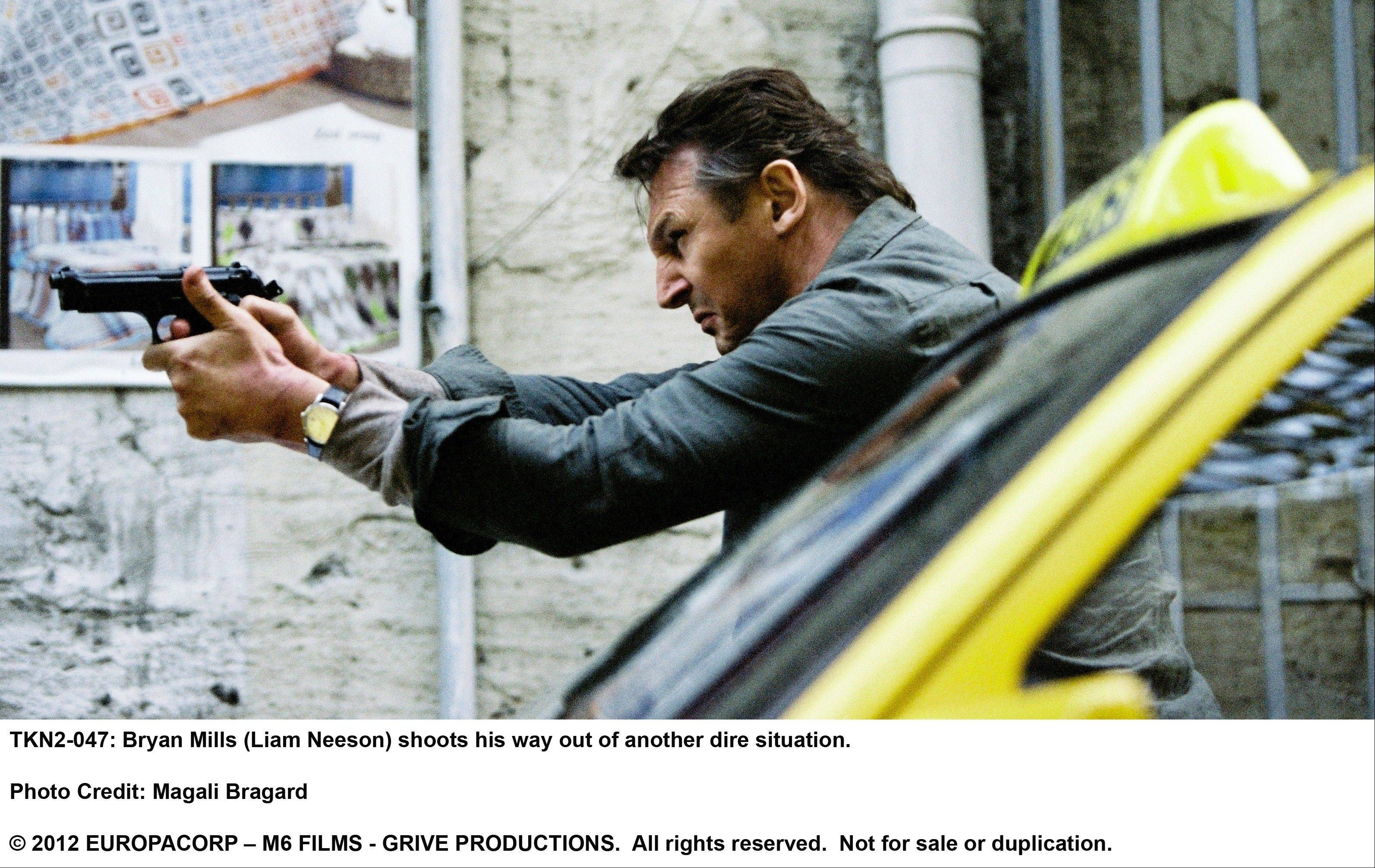 "U.S. agent Bryn Mills (Liam Neeson) takes out some more stupid Albanians in the ridiculously silly action thriller ""Taken 2."""
