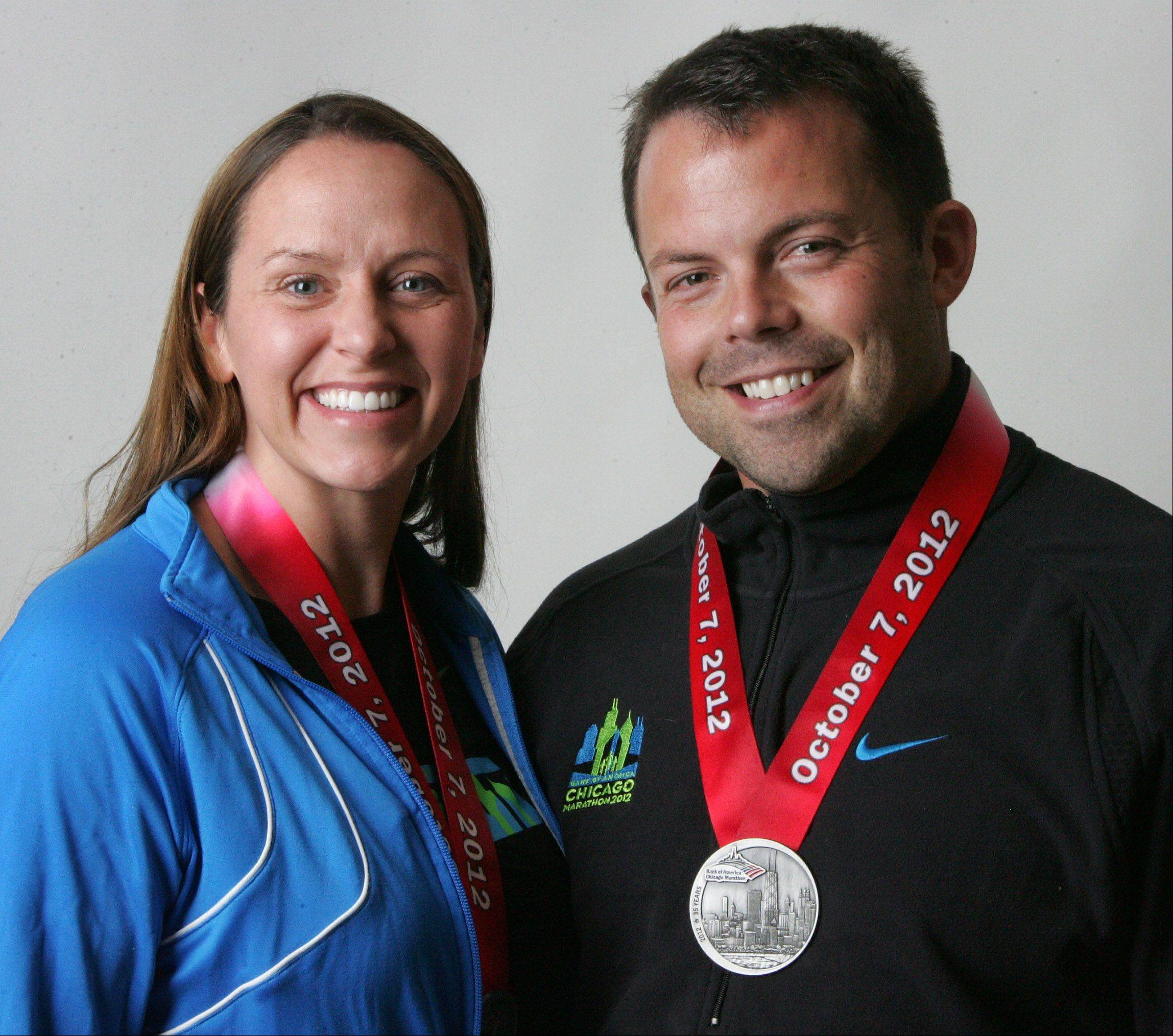 Kirk and Beth Disrude, of Mundelein, ran in the Chicago Marathon on Sunday.