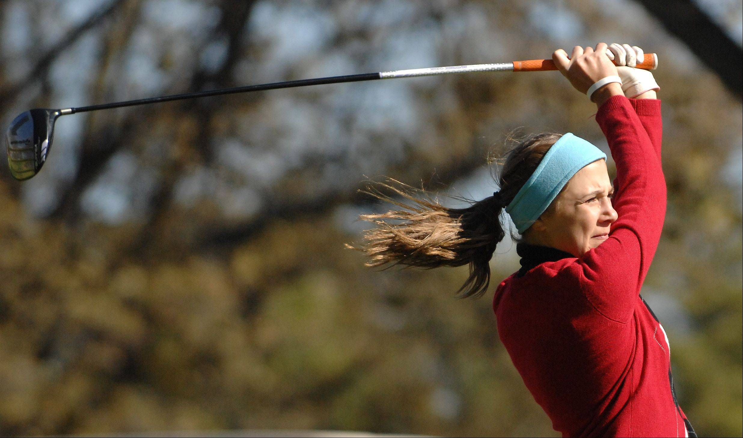 Huntley's Gillian Young tees off on the 10th hole during Monday's Burlington Central sectional girls golf action at Randall Oaks in West Dundee.