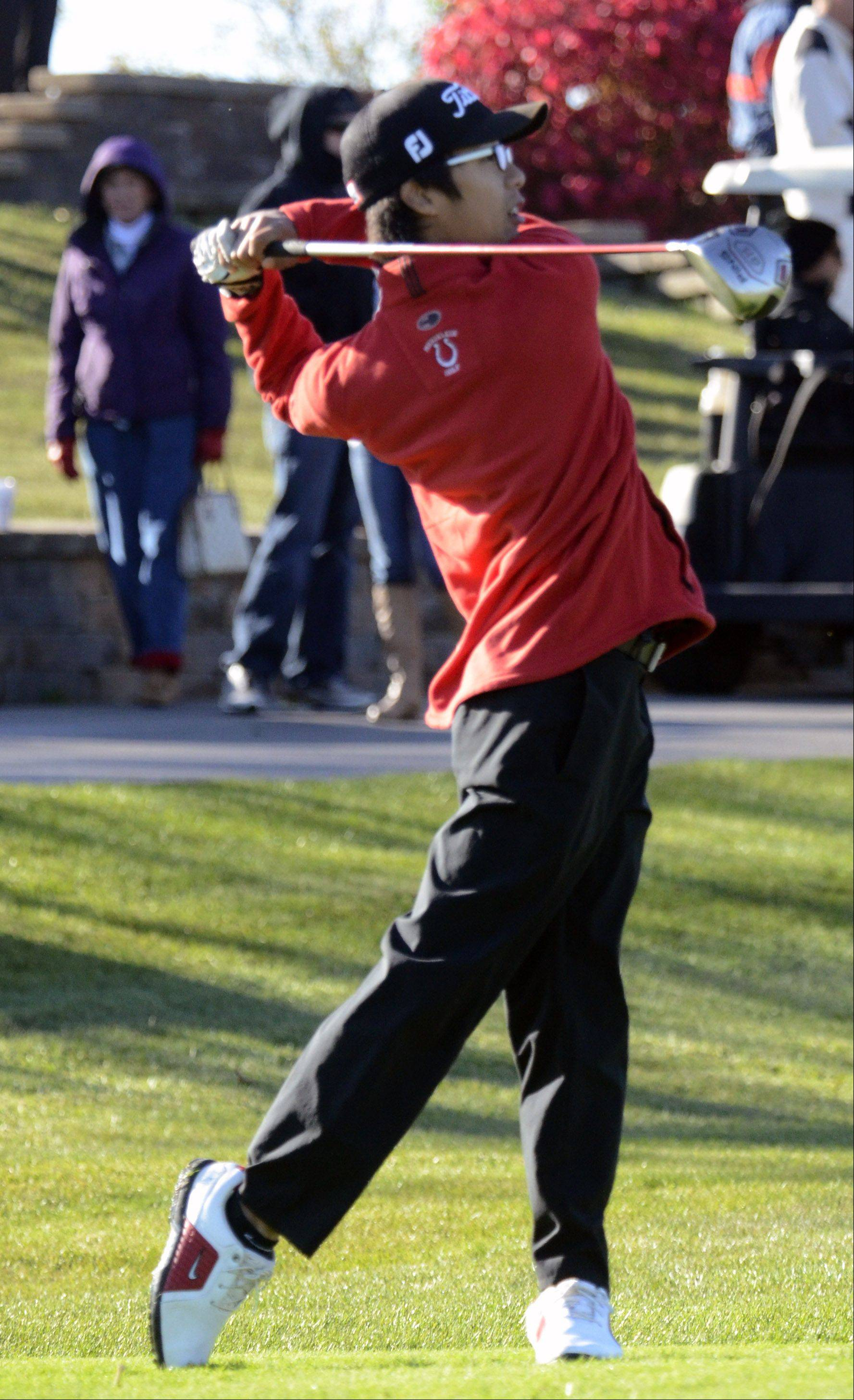 Mundelein's Jeff Lee tees off at No. 10 Monday during the Barrington sectional at Makray Memorial Golf Course.