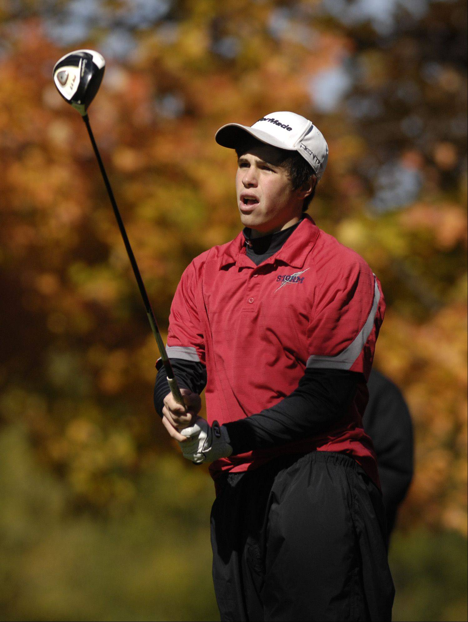Andrew Dylo of South Elgin tees off during the St. Charles East boys varsity golf sectional at St. Andrews Golf Club in West Chicago, Monday, October 8, 2012.