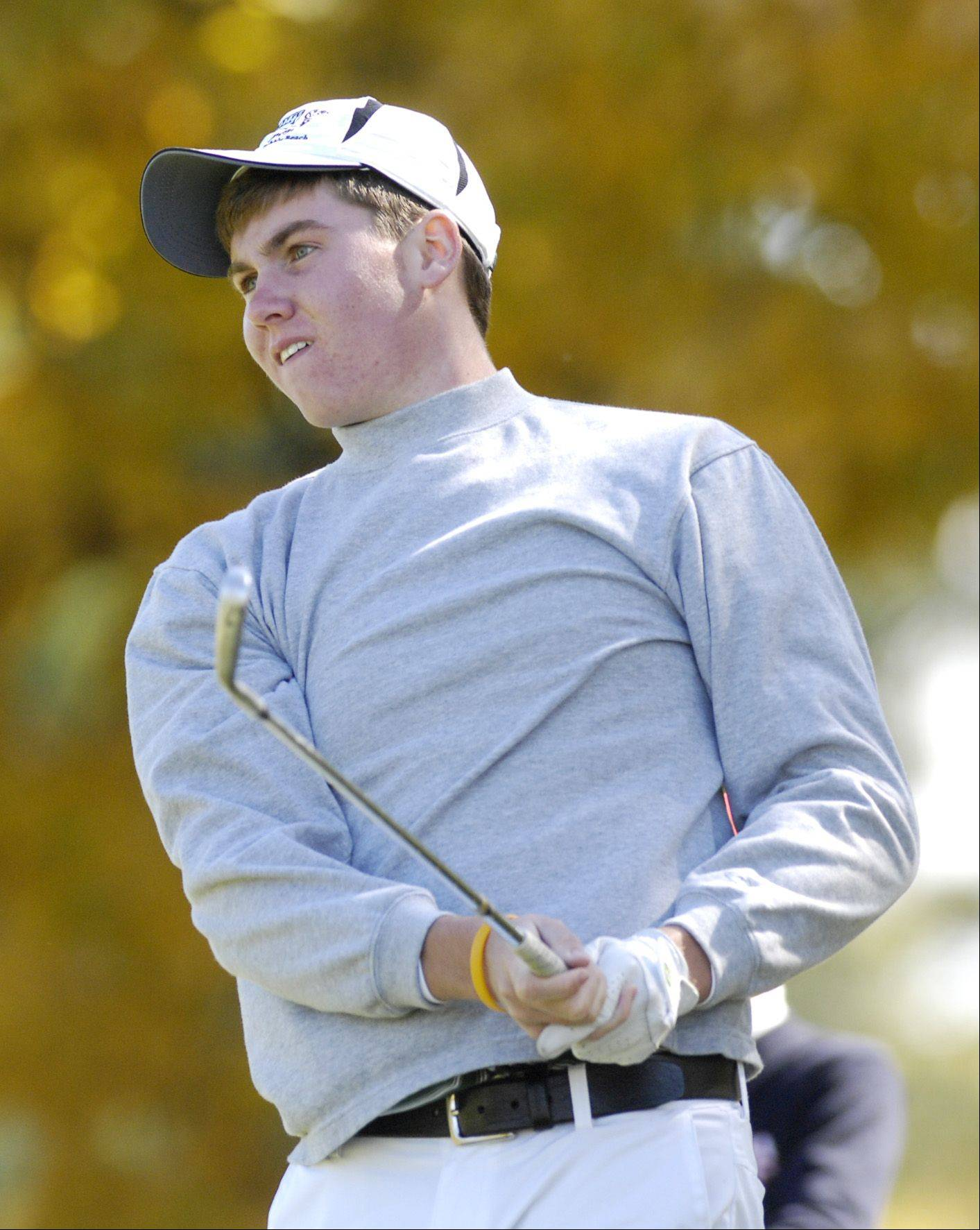 Jason Marrs of Waubonsie Valley tees off during the St. Charles East boys varsity golf sectional at St. Andrews Golf Club in West Chicago, Monday.
