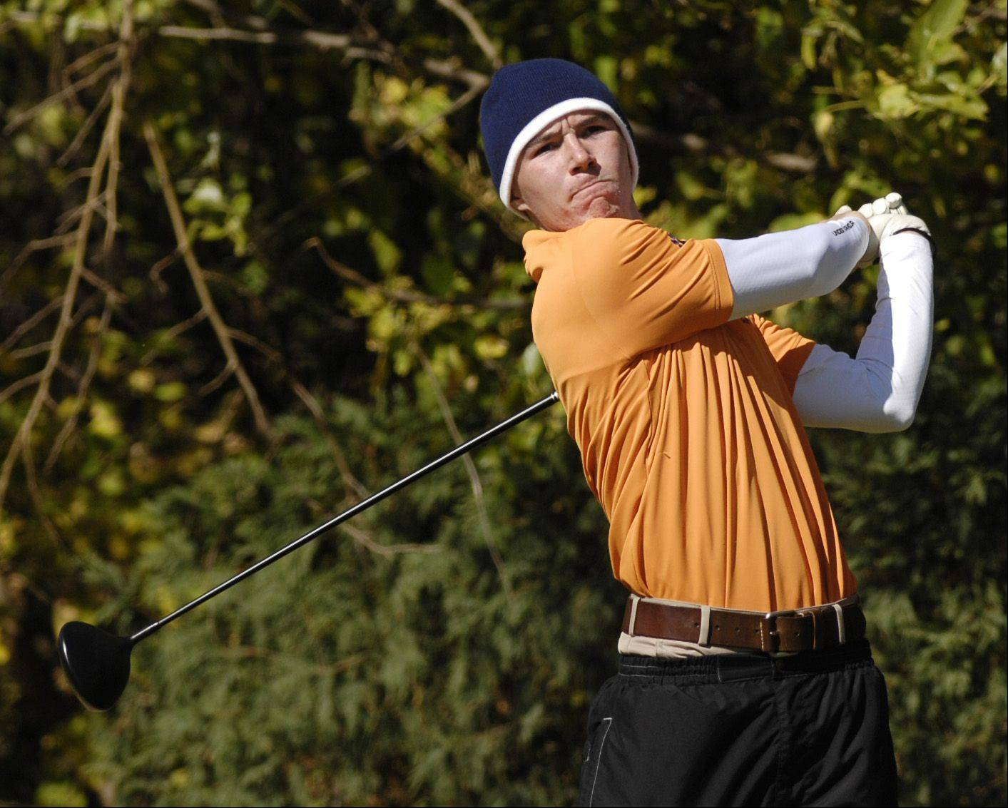 Sean McDonnell of Naperville North tees off during the St. Charles East boys varsity golf sectional at St. Andrews Golf Club in West Chicago, Monday.