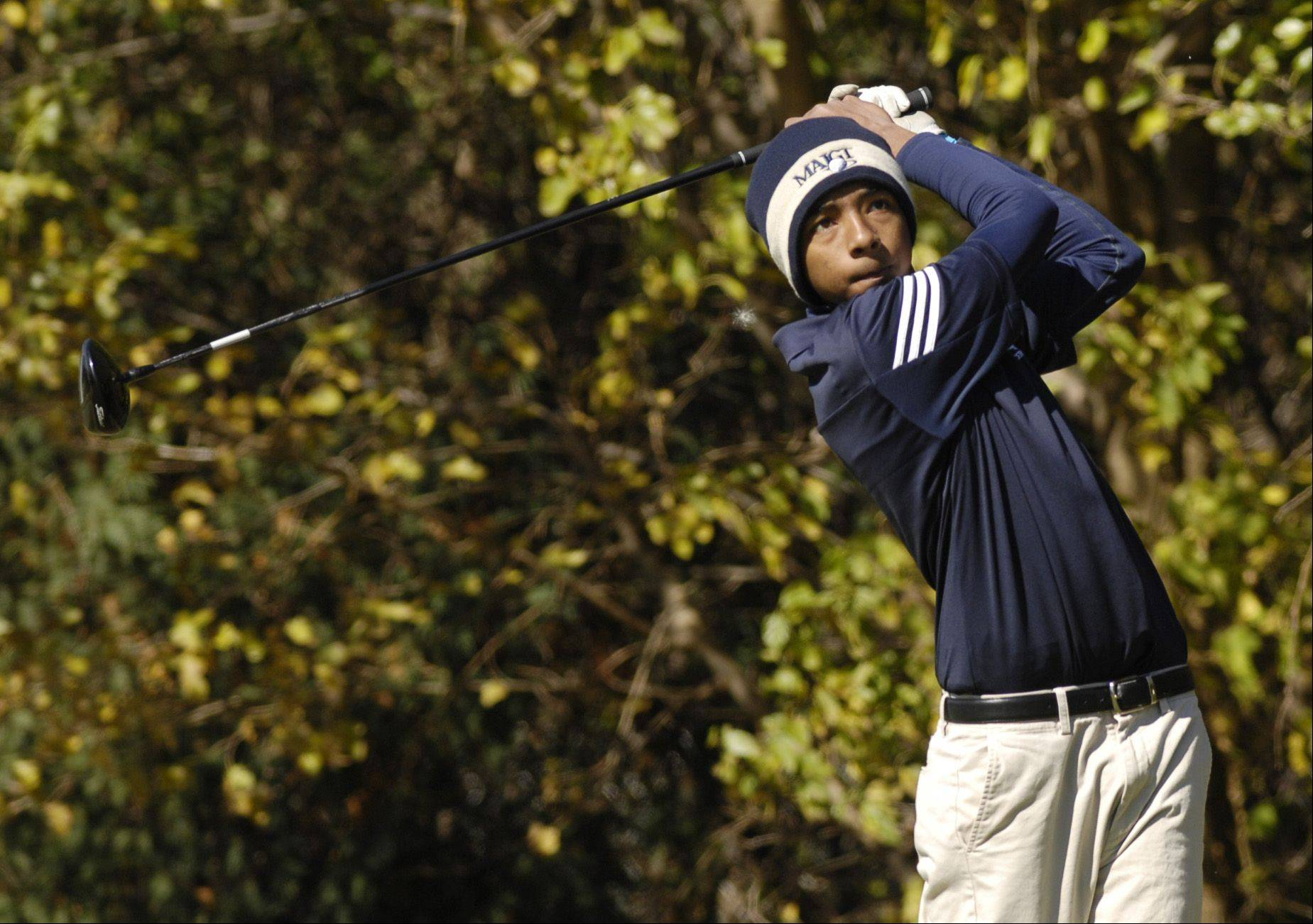 Daren Hooper of Lake Park tees off during the St. Charles East boys varsity golf sectional at St. Andrews Golf Club in West Chicago, Monday.