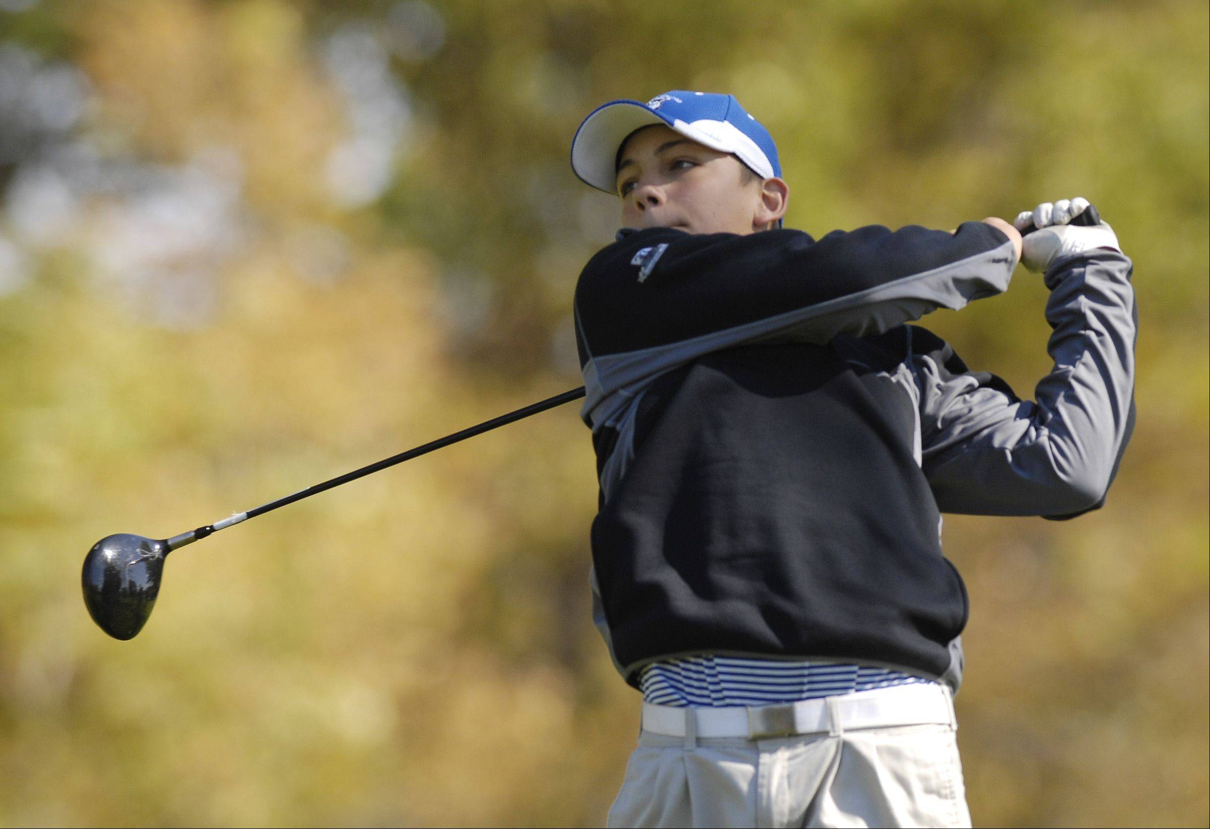 Dan Lenz of Larkin tees off during the St. Charles East boys varsity golf sectional at St. Andrews Golf Club in West Chicago, Monday.