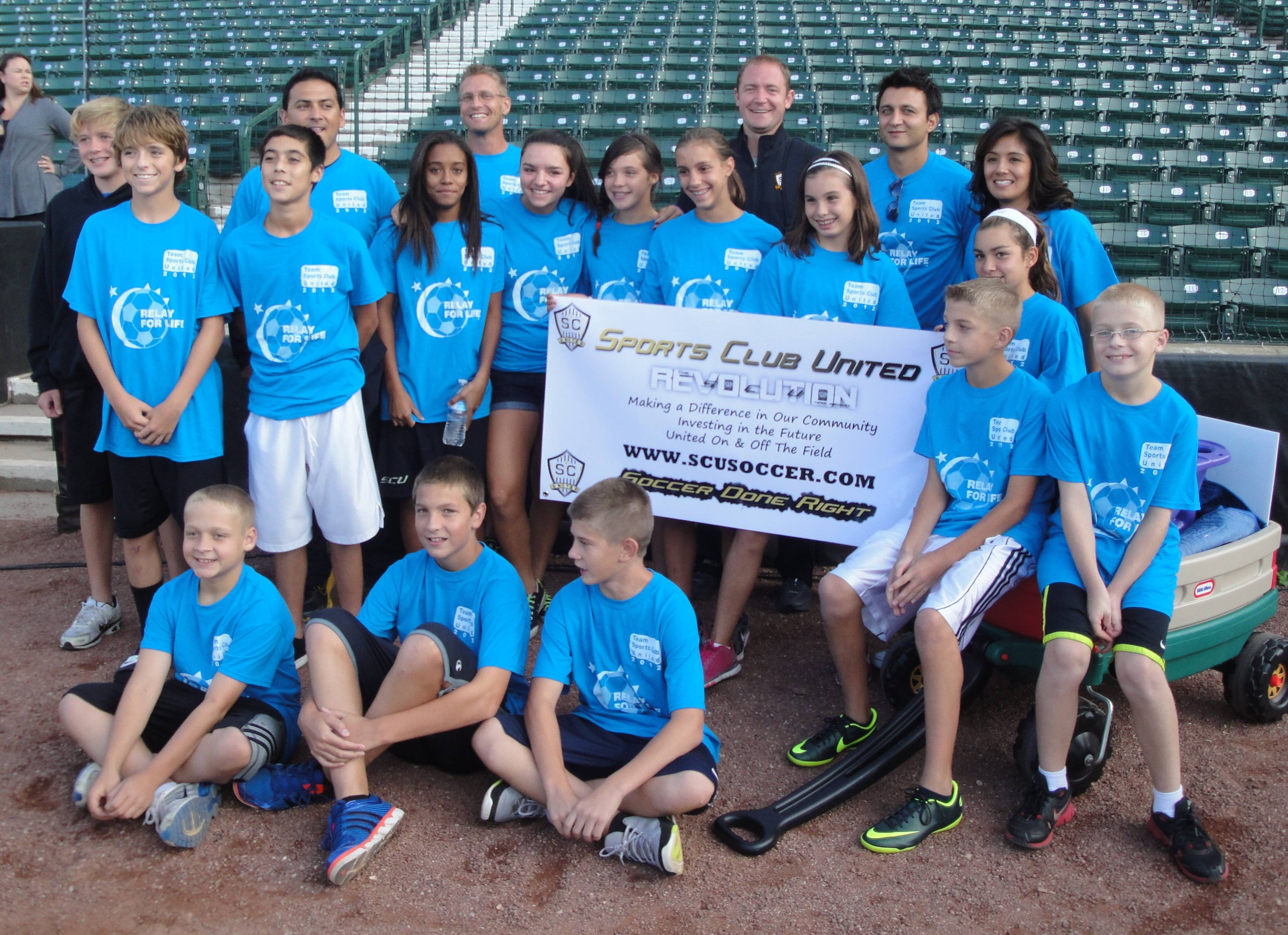 Pictured at Boomers Stadium: Standing from left to right: Jason Schoo, Anthony Haaland, Austin Lara, Coach Jose Skrobot, Brooklyn Gibson, Coach Adam Raupp, Elizabeth Dolce, Kailyn Loureiro, Kaylin Feeley, SCU VP-Brad Stevens, Jessica Smeltzer, SCU President-Hamid Mehreioskouei, Maria Gibson, Sitting: Aaron Bogner, Aaron Kline, Michael Rizzo, Ian Raupp, Emma Aguilar & Sam Bogner.