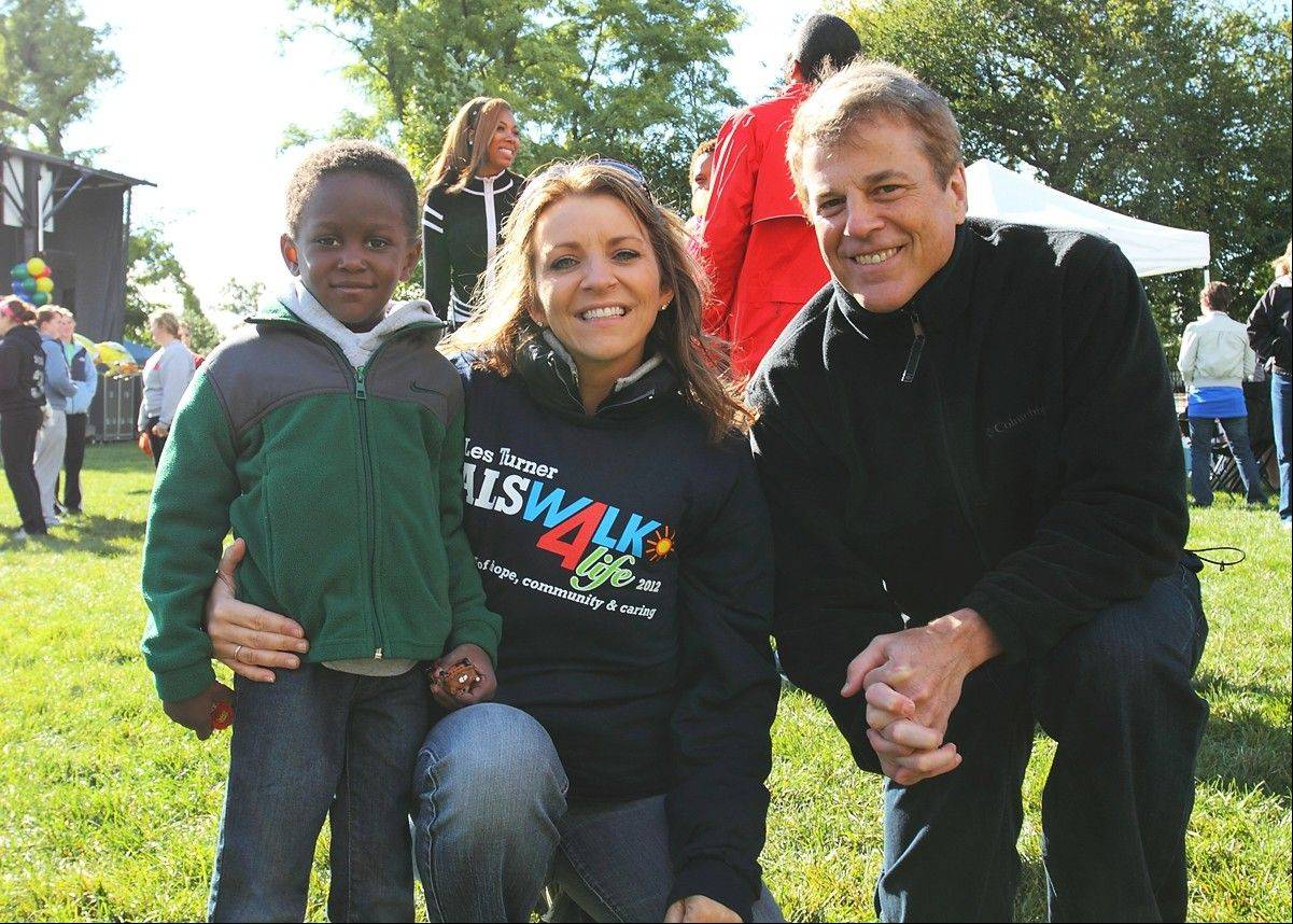 Kathy Hart of The Mix 101.9 FM with her son Allen and ABC 7 Chicago meteorologist Phil Schwarz at the Les Turner ALS Walk4Life.