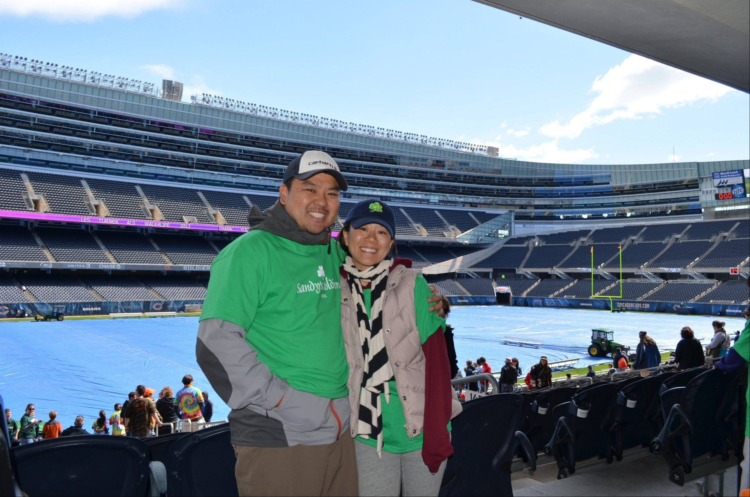 Hans and Susie Shin of Palatine at Soldier Field during the Les Turner ALS Walk4Life