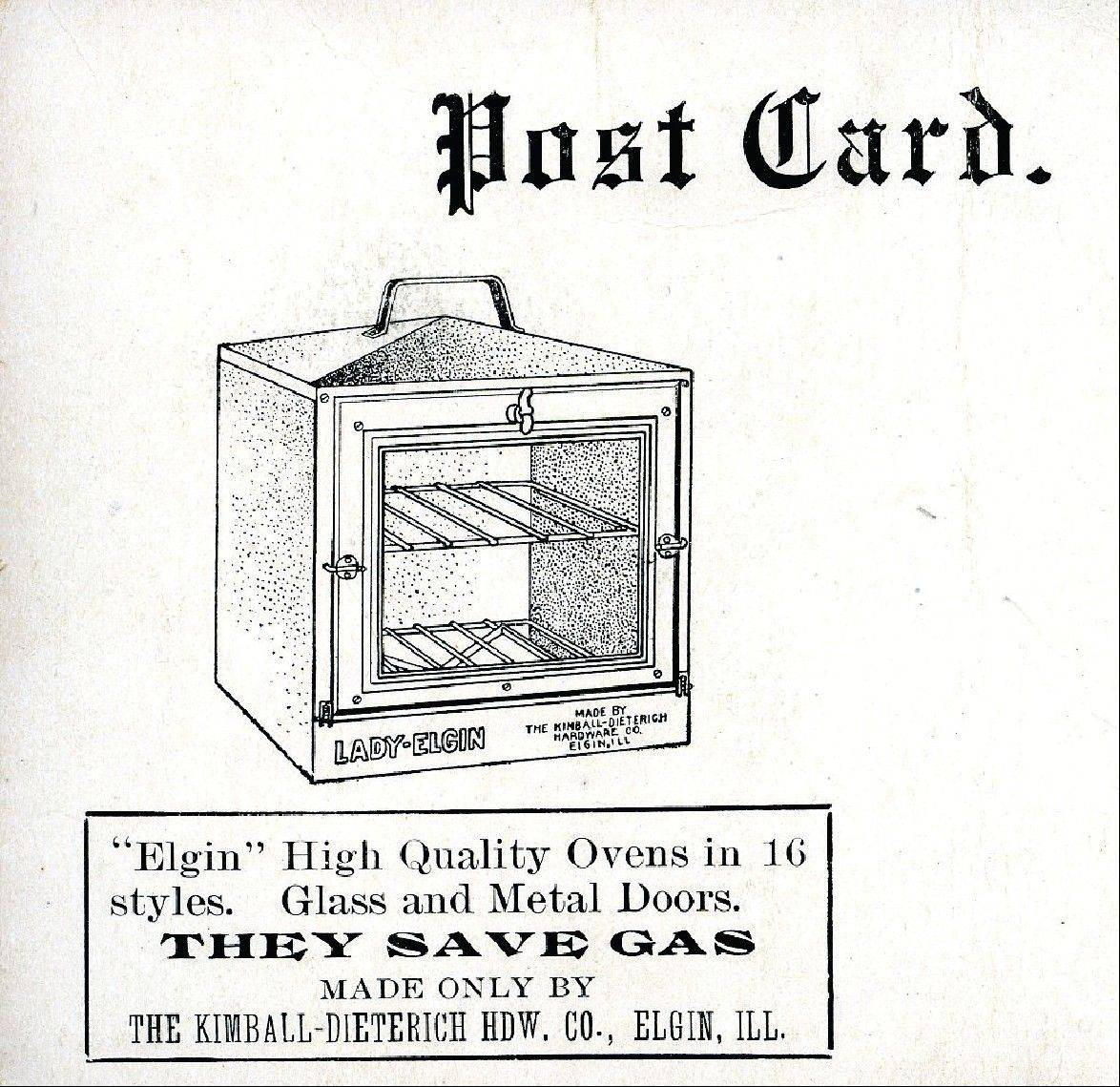 Advertising card from Elgin Ovens made by Kimball-Dieterich Hardware, ca. 1925.