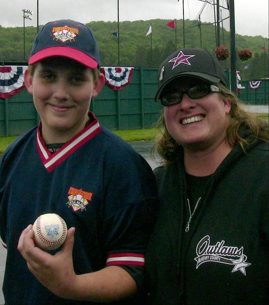 Kathy Dozier of Algonquin died Oct. 5. In this June photo, she is pictured with her son, Mason Kamp, 12, who hit a grand slam in her honor in Cooperstown, N.Y.